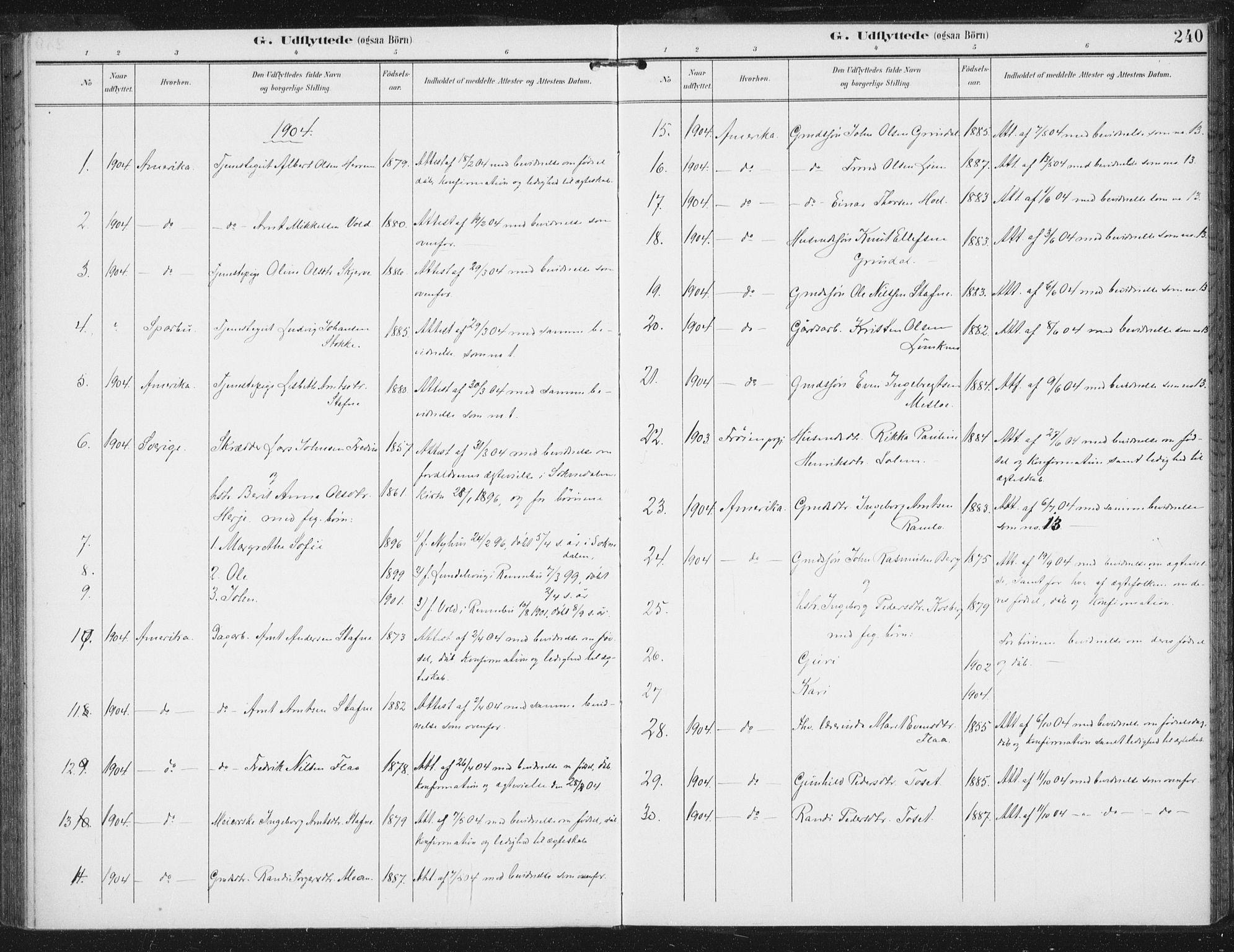 SAT, Ministerialprotokoller, klokkerbøker og fødselsregistre - Sør-Trøndelag, 674/L0872: Ministerialbok nr. 674A04, 1897-1907, s. 240