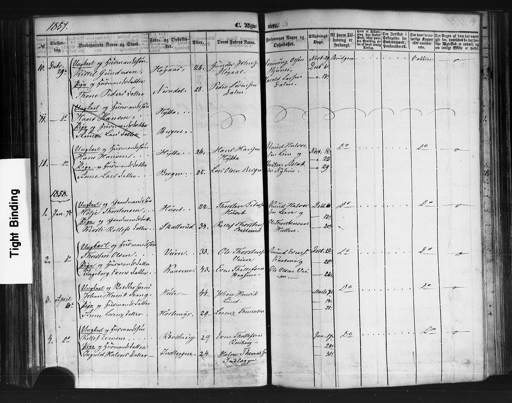 SAKO, Sauherad kirkebøker, F/Fb/L0001: Ministerialbok nr. II 1, 1851-1877, s. 119