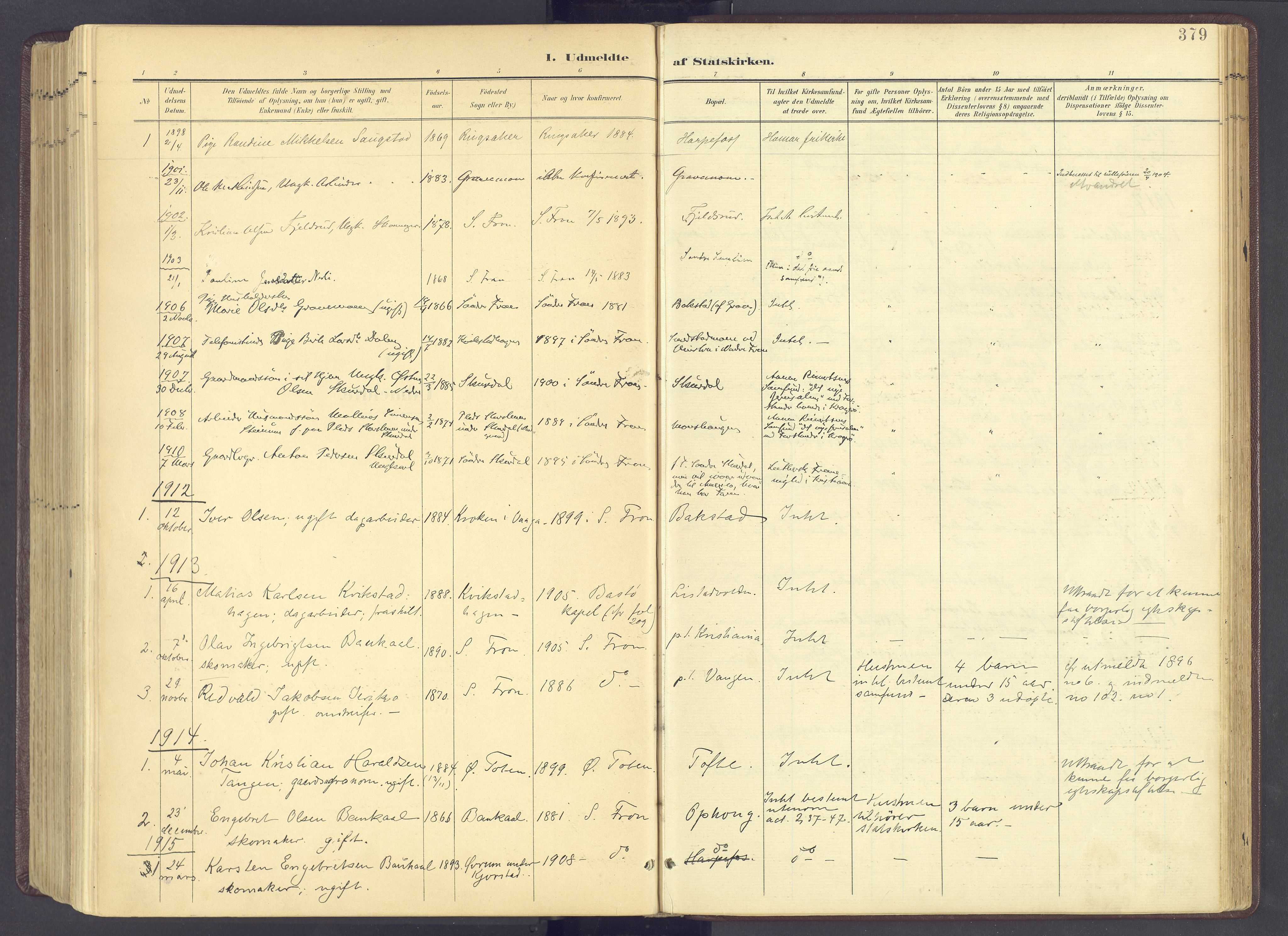 SAH, Sør-Fron prestekontor, H/Ha/Haa/L0004: Ministerialbok nr. 4, 1898-1919, s. 379