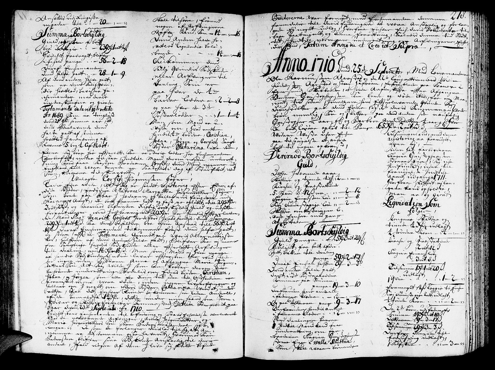 SAST, Jæren og Dalane sorenskriveri, 5/50BA/L0004: SKIFTEPROTOKOLL, 1708-1714, s. 217b-218a