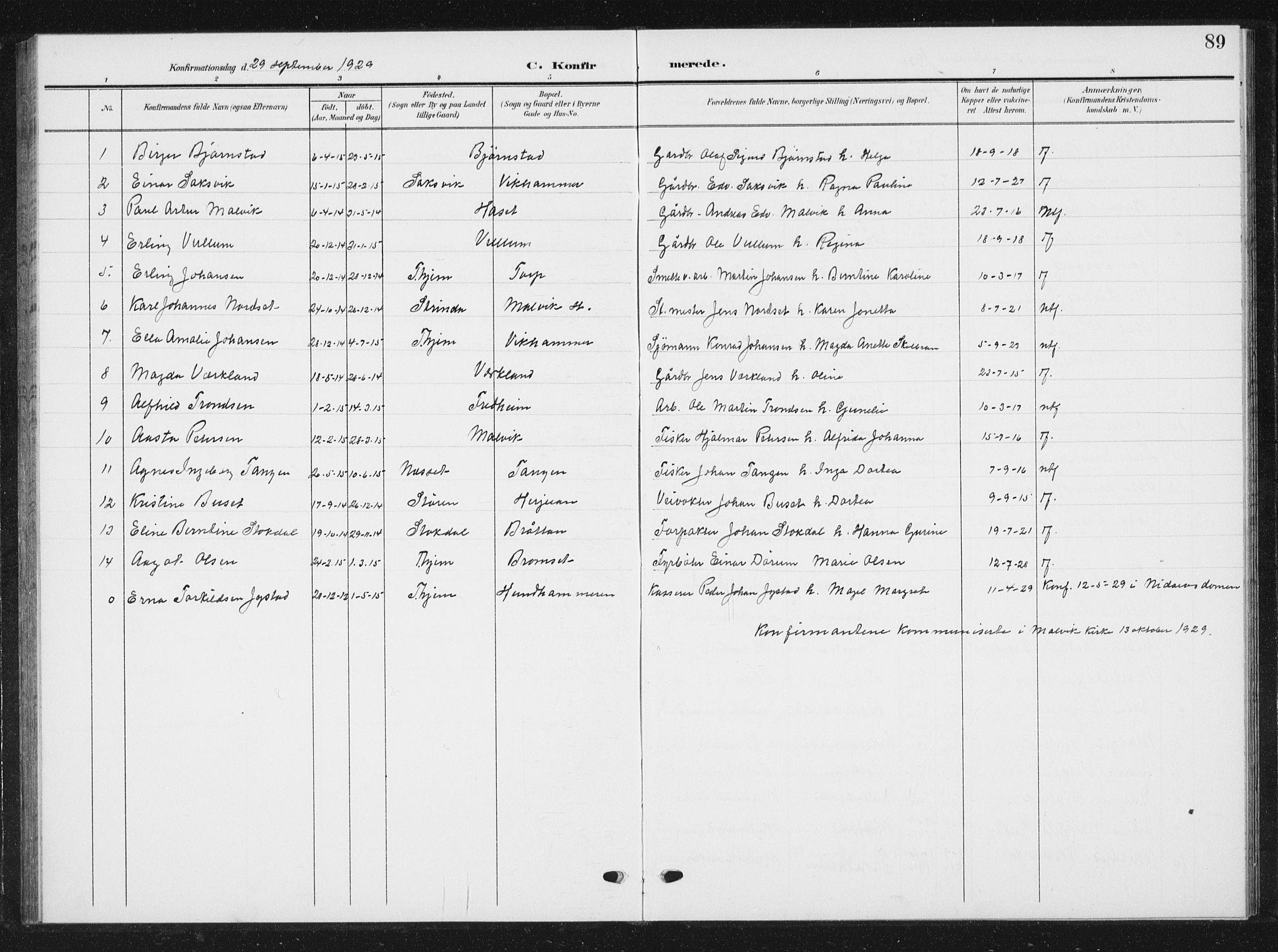 SAT, Ministerialprotokoller, klokkerbøker og fødselsregistre - Sør-Trøndelag, 616/L0424: Klokkerbok nr. 616C07, 1904-1940, s. 89