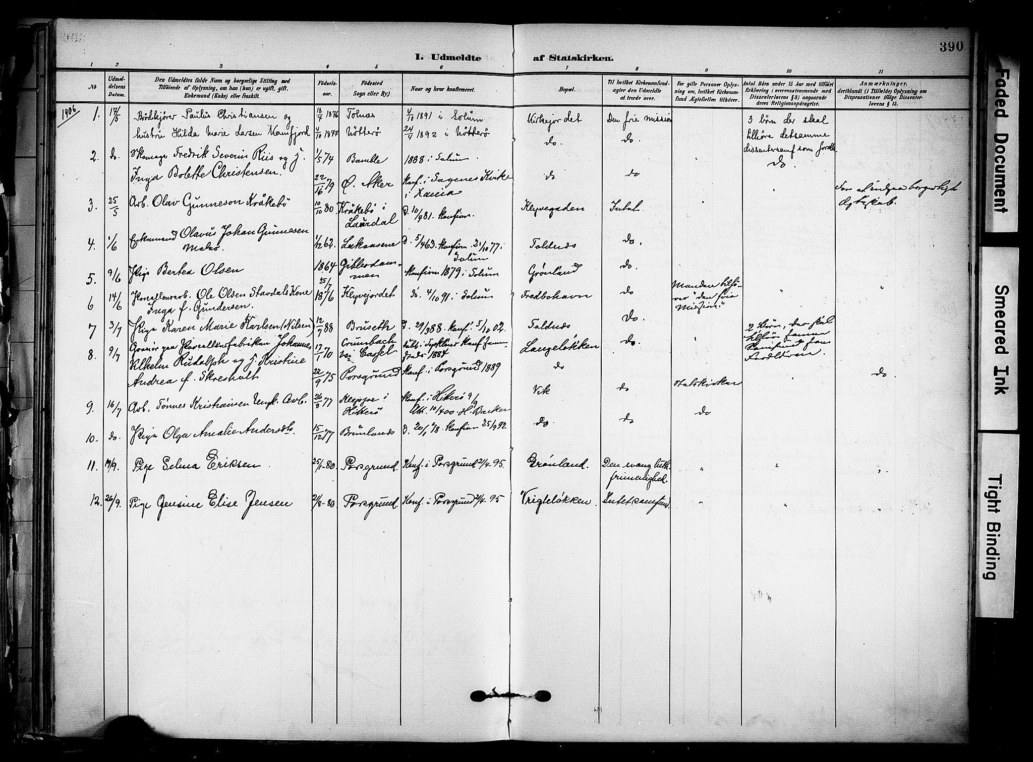 SAKO, Solum kirkebøker, F/Fa/L0011: Ministerialbok nr. I 11, 1898-1909, s. 390