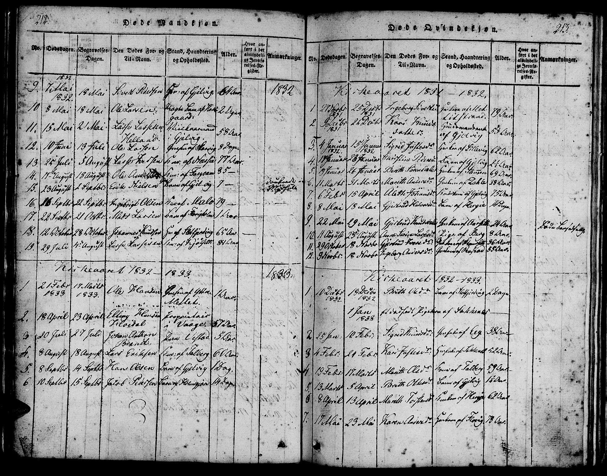 SAT, Ministerialprotokoller, klokkerbøker og fødselsregistre - Møre og Romsdal, 547/L0602: Ministerialbok nr. 547A04, 1818-1845, s. 212-213