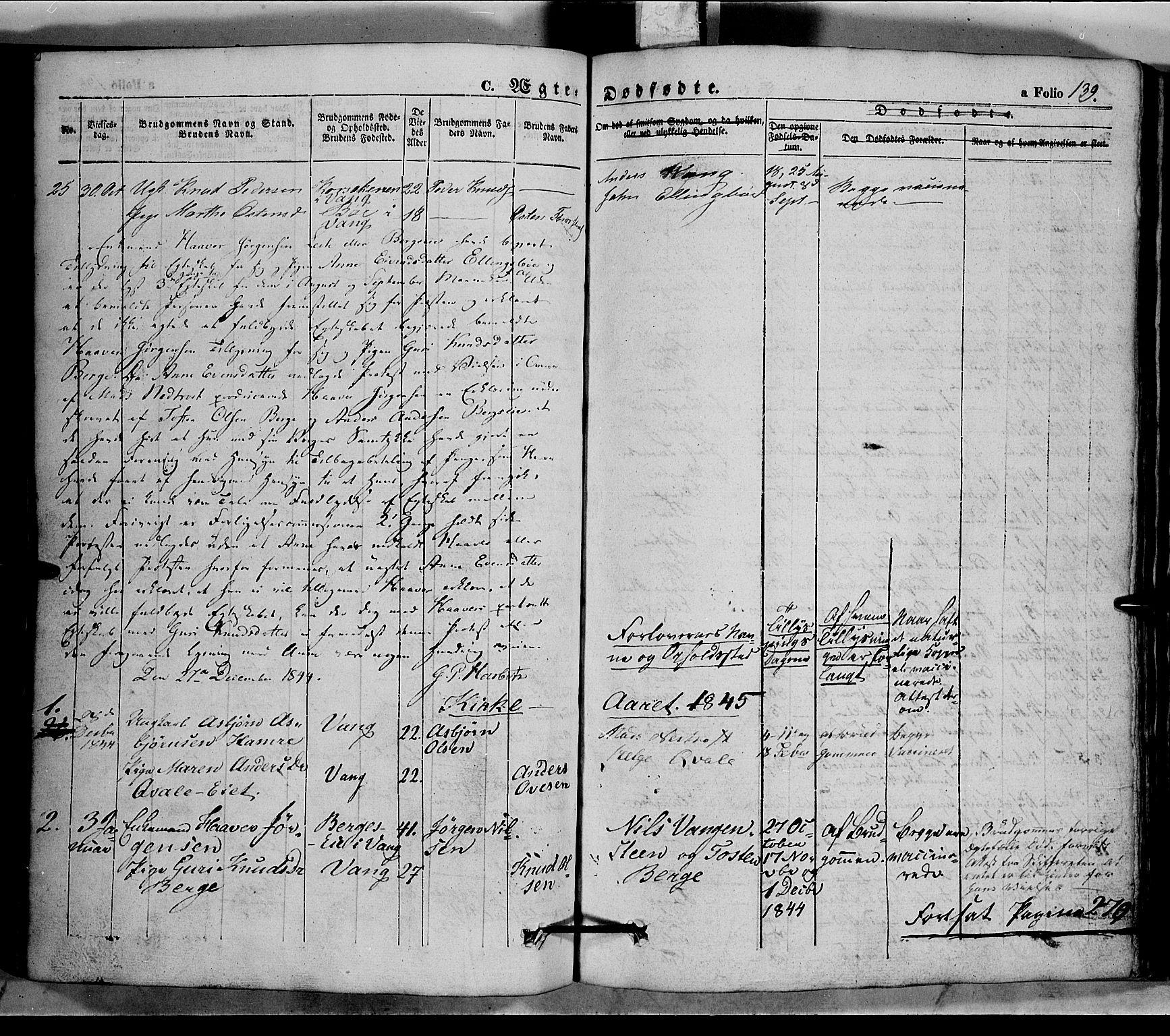 SAH, Vang prestekontor, Valdres, Ministerialbok nr. 5, 1831-1845, s. 139