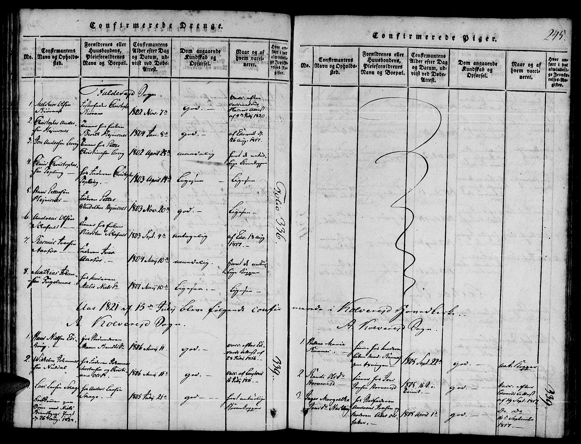 SAT, Ministerialprotokoller, klokkerbøker og fødselsregistre - Nord-Trøndelag, 780/L0636: Ministerialbok nr. 780A03 /1, 1815-1830, s. 245