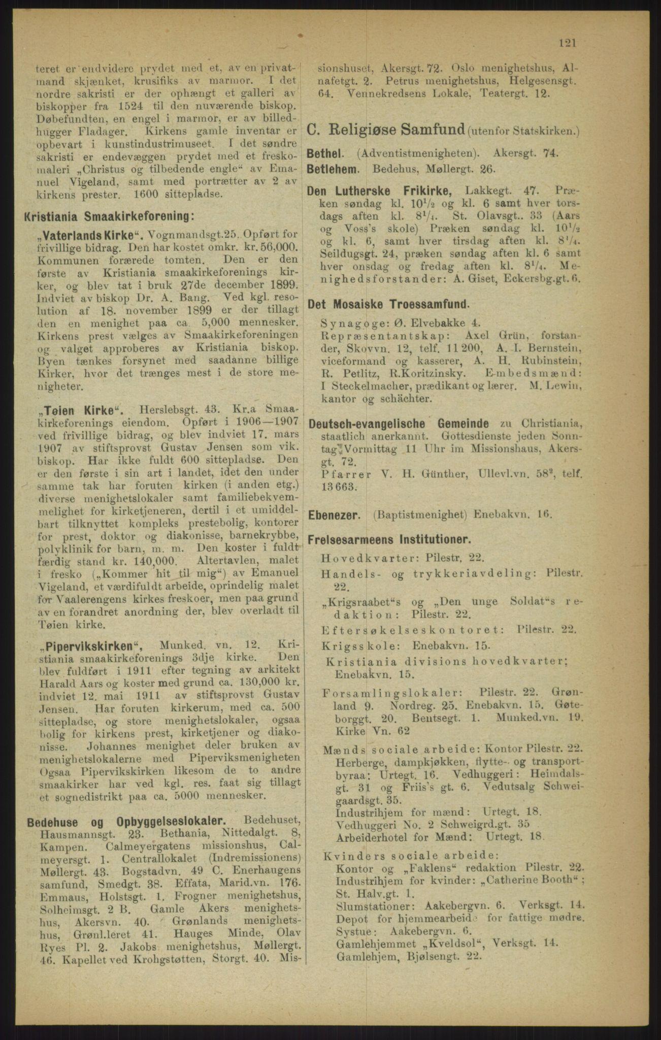RA, Kristiania adressebok (publikasjon)*, 1915, s. 121