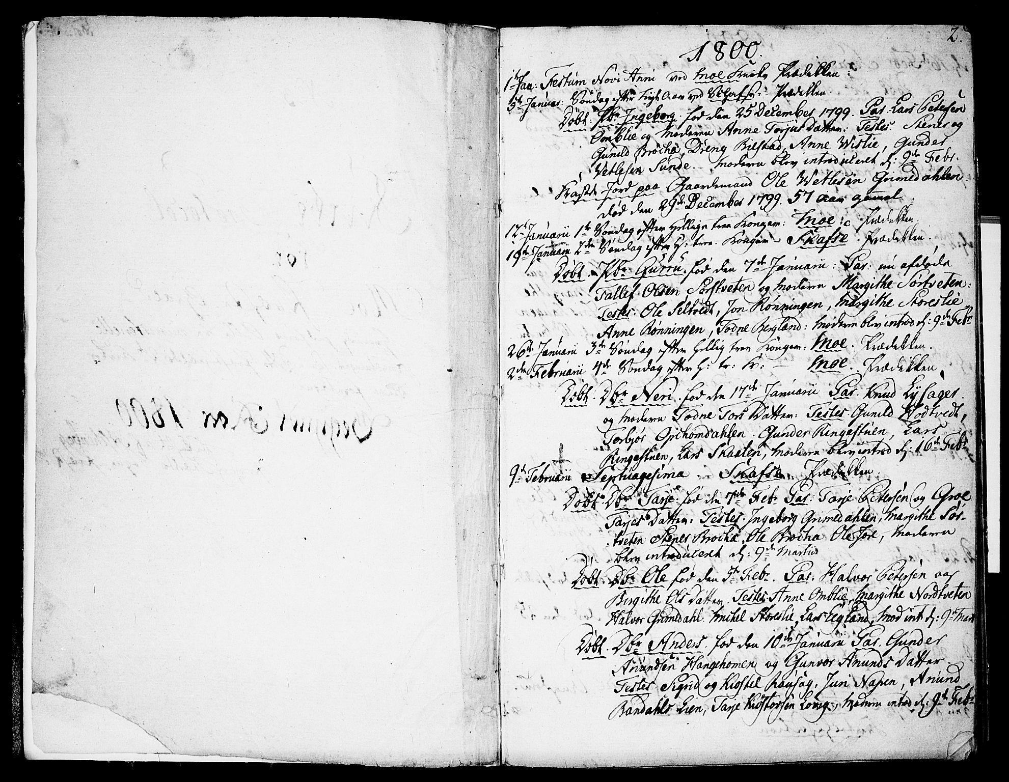 SAKO, Mo kirkebøker, F/Fa/L0003: Ministerialbok nr. I 3, 1800-1814, s. 2