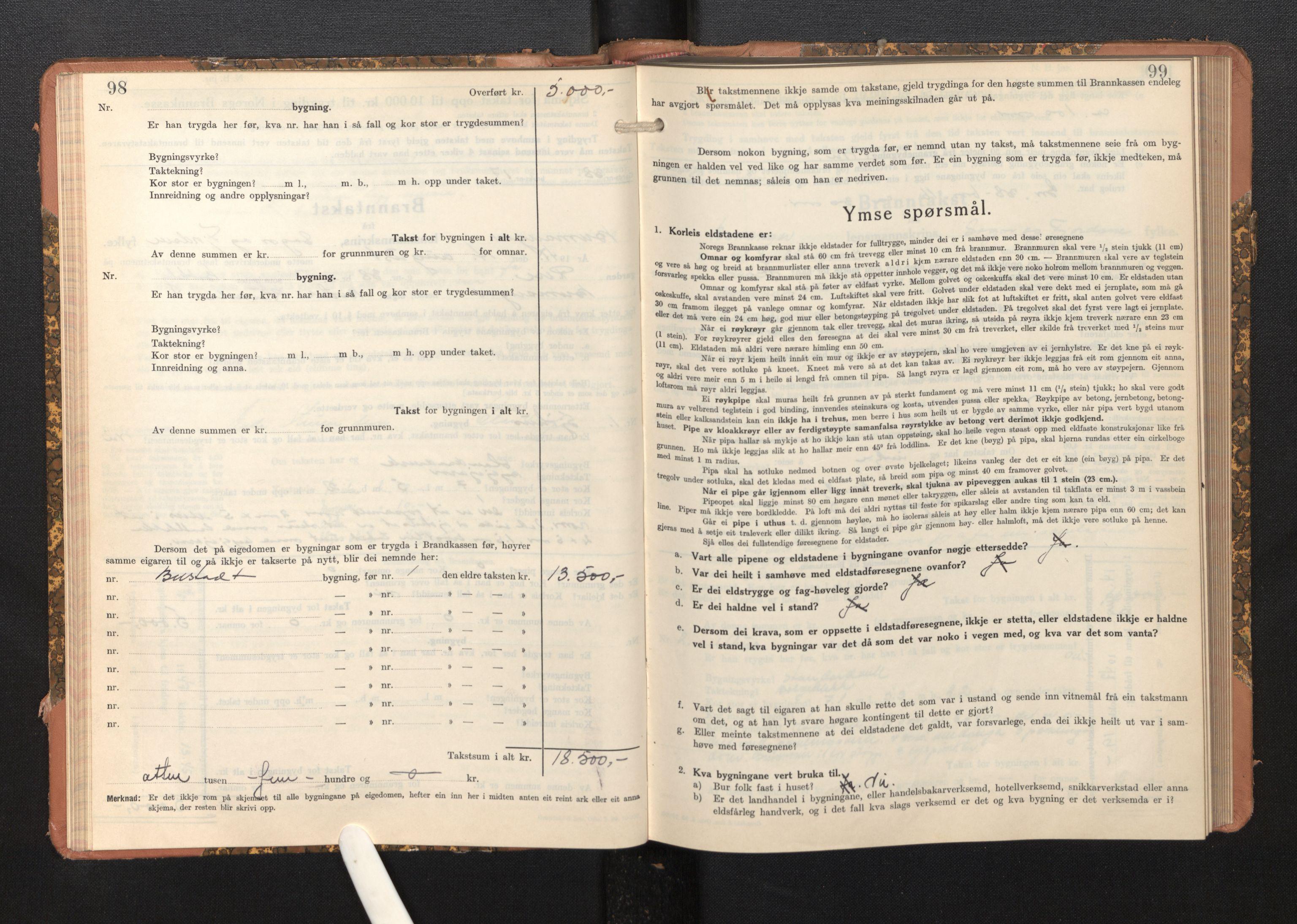 SAB, Lensmannen i Bremanger, 0012/L0009: Branntakstprotokoll, skjematakst, 1943-1950, s. 98-99