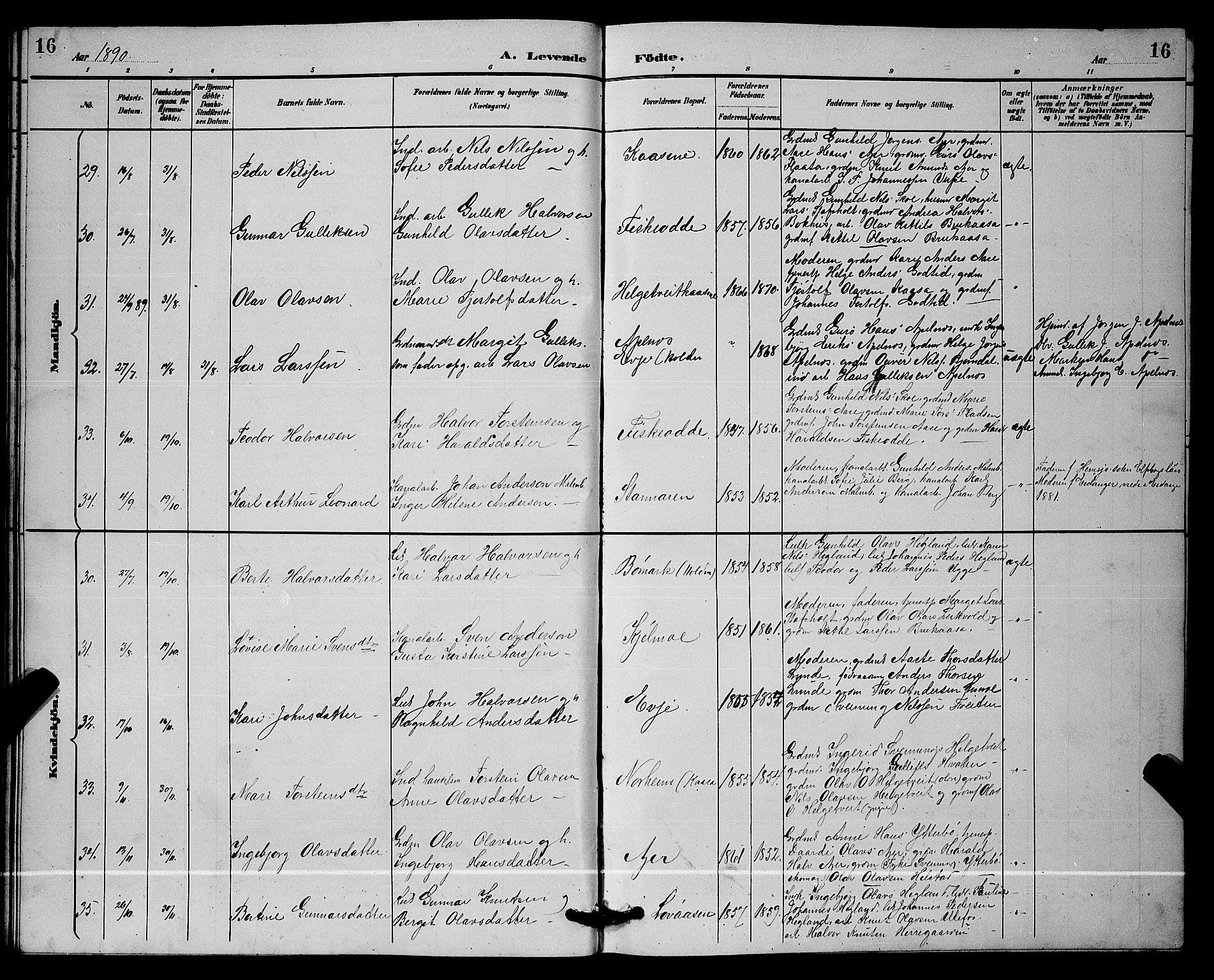 SAKO, Lunde kirkebøker, G/Ga/L0002: Klokkerbok nr. I 2, 1887-1896, s. 16