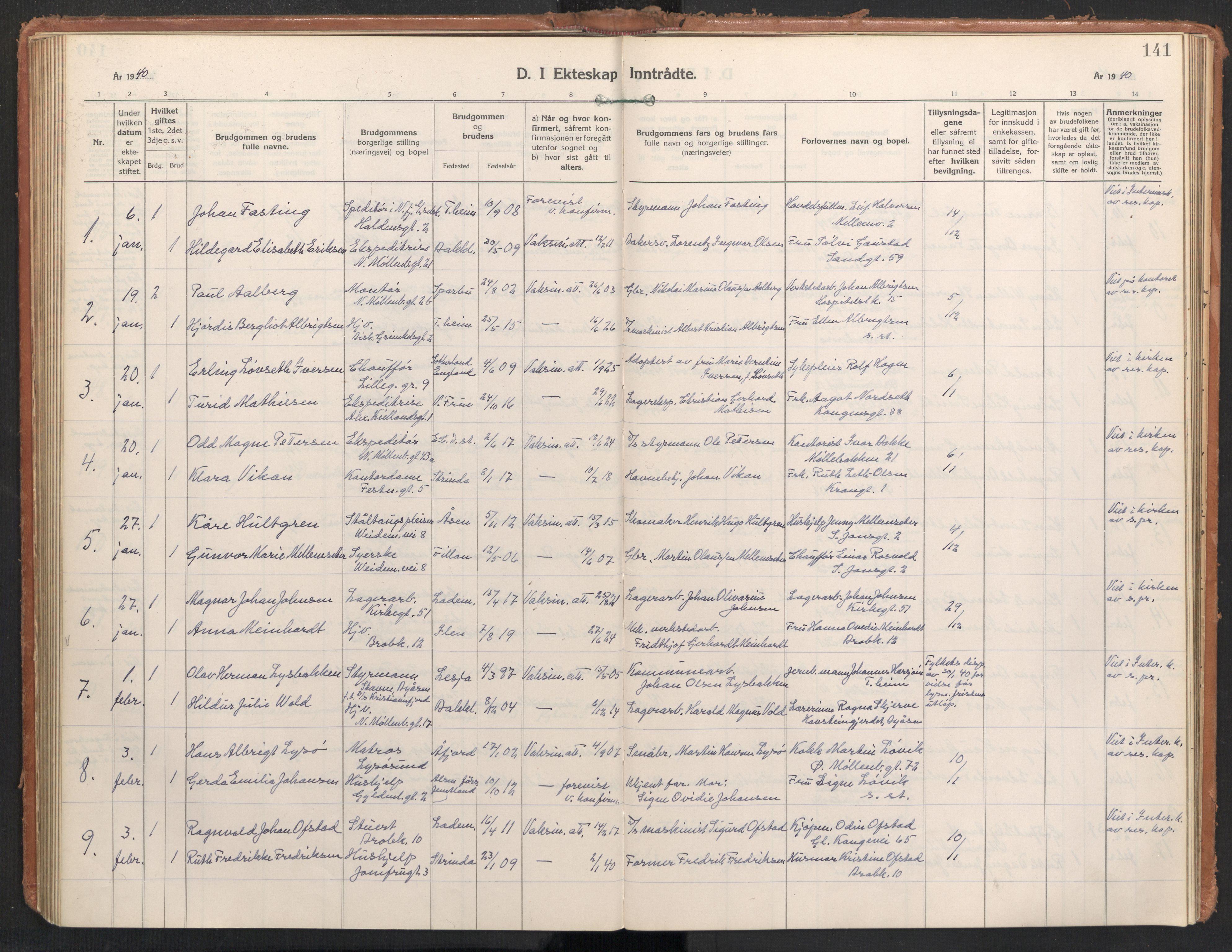 SAT, Ministerialprotokoller, klokkerbøker og fødselsregistre - Sør-Trøndelag, 604/L0209: Ministerialbok nr. 604A29, 1931-1945, s. 141