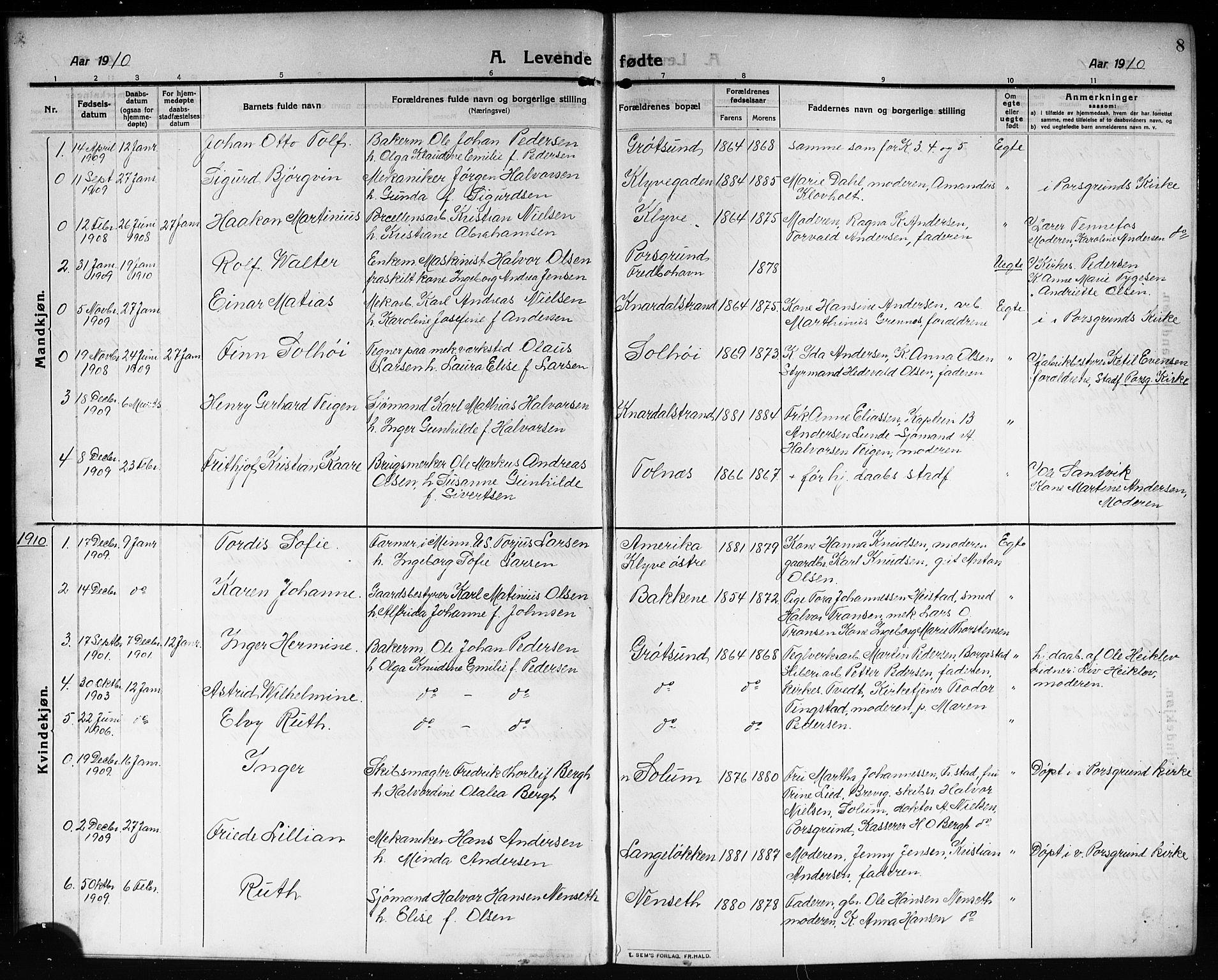 SAKO, Solum kirkebøker, G/Ga/L0009: Klokkerbok nr. I 9, 1909-1922, s. 8