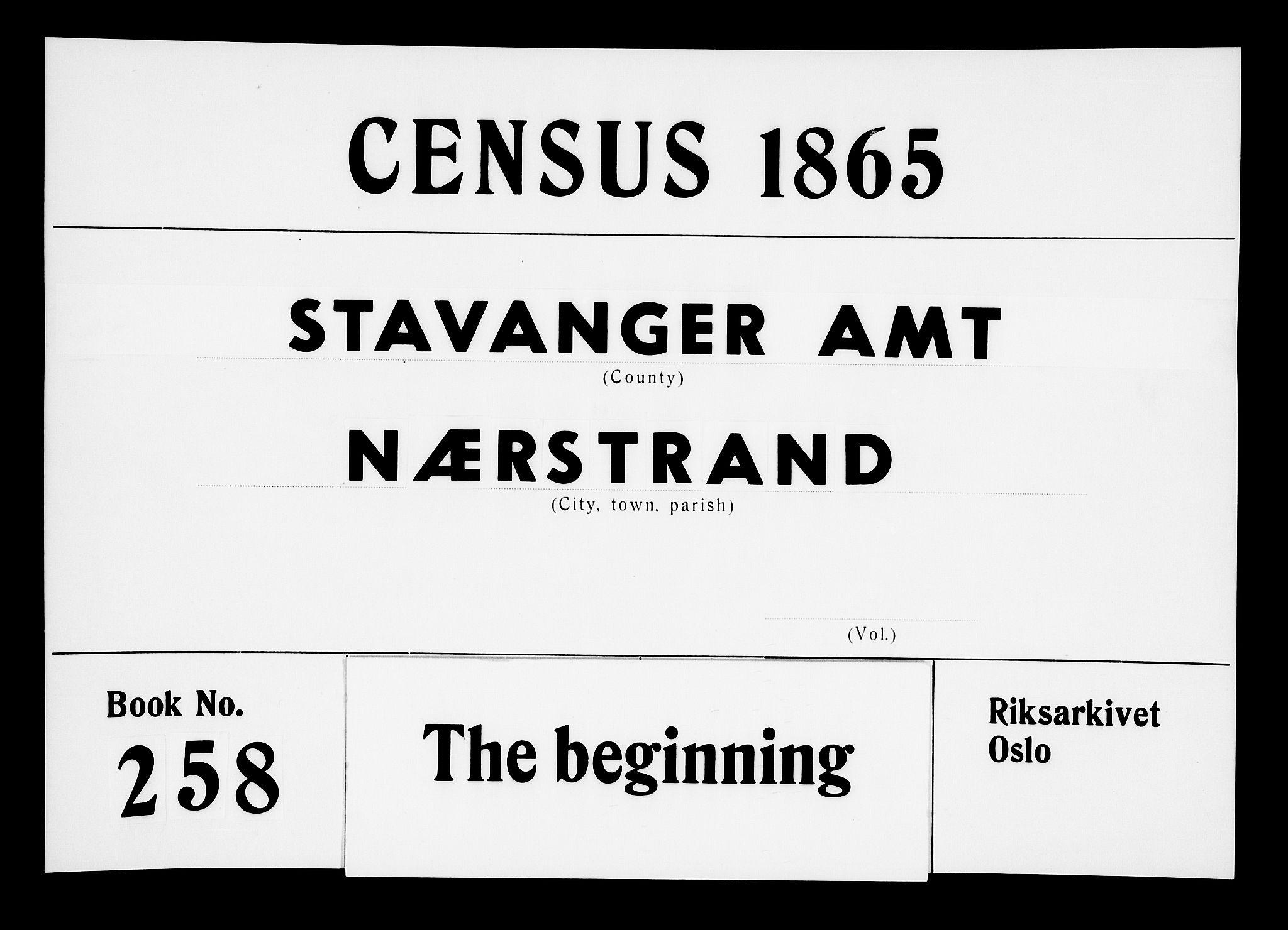 RA, Folketelling 1865 for 1139P Nedstrand prestegjeld, 1865, s. 1