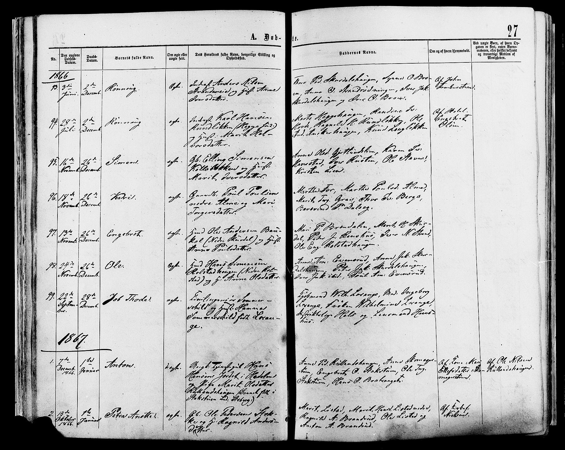 SAH, Sør-Fron prestekontor, H/Ha/Haa/L0002: Ministerialbok nr. 2, 1864-1880, s. 27