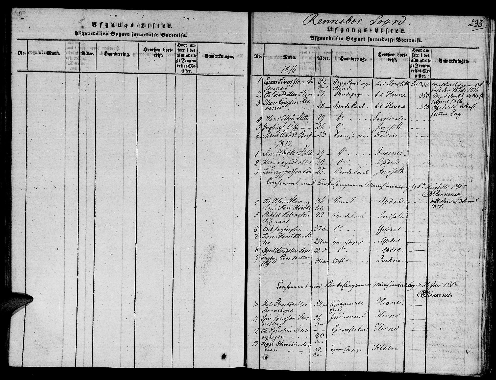 SAT, Ministerialprotokoller, klokkerbøker og fødselsregistre - Sør-Trøndelag, 672/L0854: Ministerialbok nr. 672A06 /2, 1816-1829, s. 293