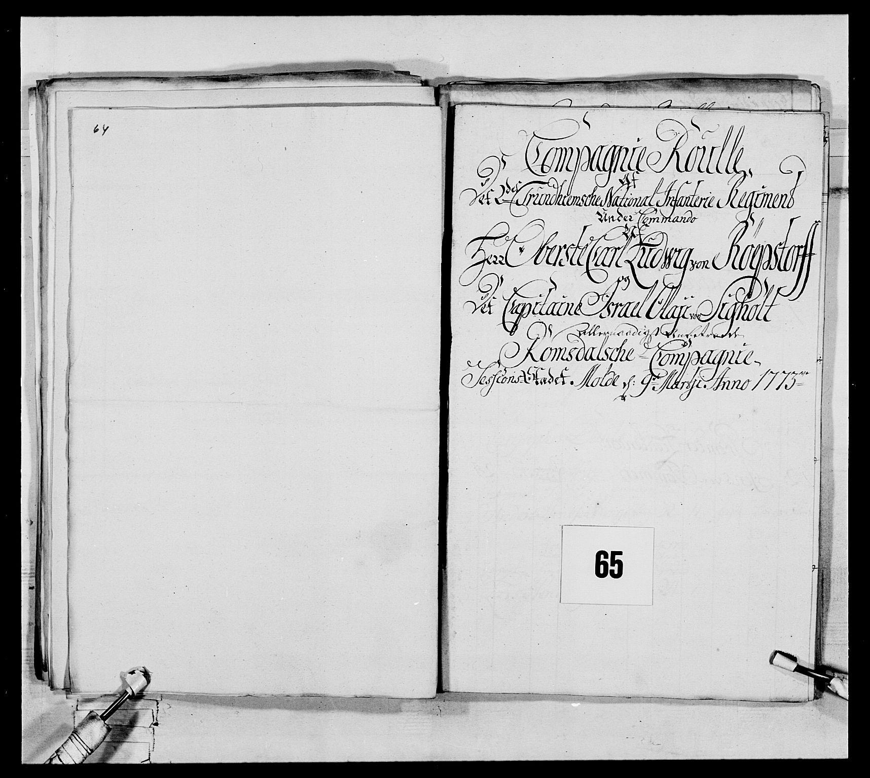RA, Generalitets- og kommissariatskollegiet, Det kongelige norske kommissariatskollegium, E/Eh/L0076: 2. Trondheimske nasjonale infanteriregiment, 1766-1773, s. 230