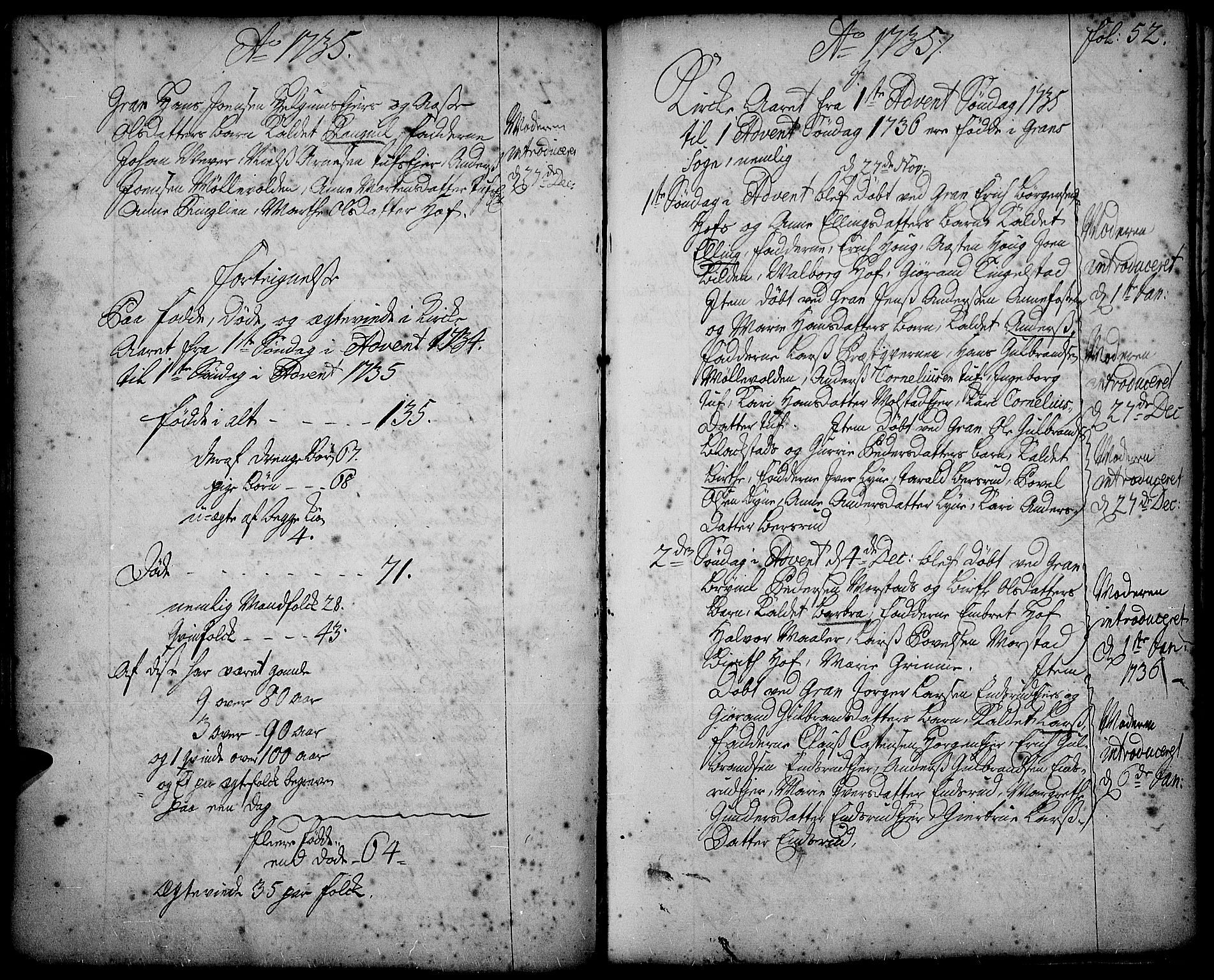 SAH, Gran prestekontor, Ministerialbok nr. 2, 1732-1744, s. 52