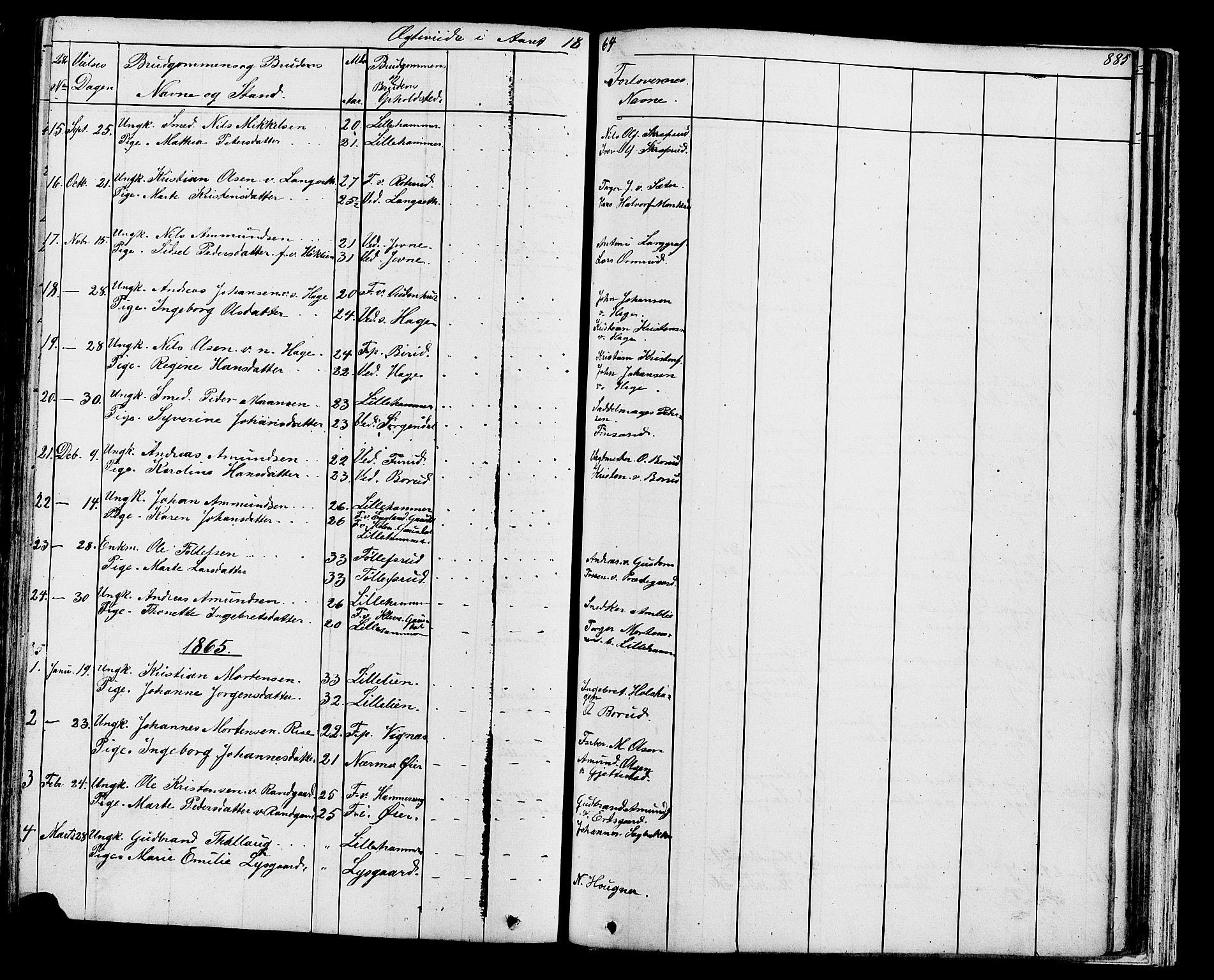 SAH, Fåberg prestekontor, Klokkerbok nr. 7, 1856-1891, s. 884-885