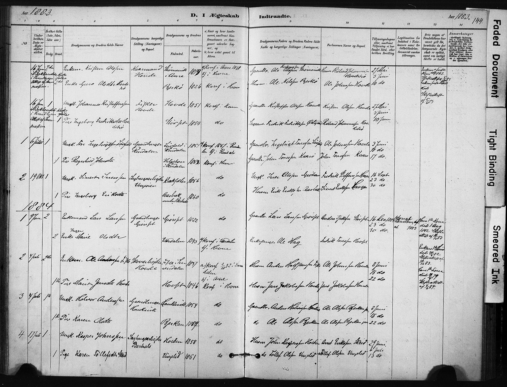 SAT, Ministerialprotokoller, klokkerbøker og fødselsregistre - Sør-Trøndelag, 631/L0512: Ministerialbok nr. 631A01, 1879-1912, s. 144