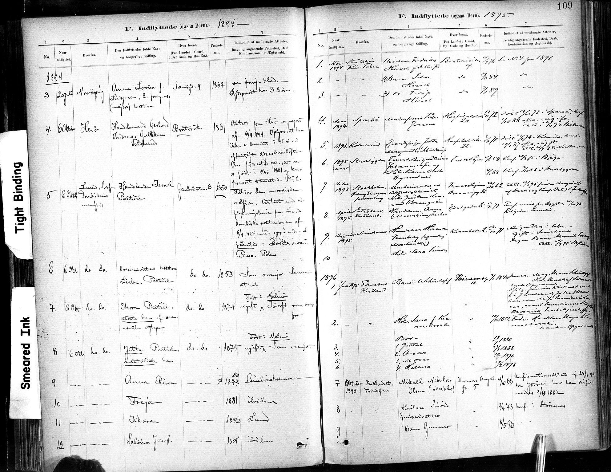 SAT, Ministerialprotokoller, klokkerbøker og fødselsregistre - Sør-Trøndelag, 602/L0120: Ministerialbok nr. 602A18, 1880-1913, s. 109