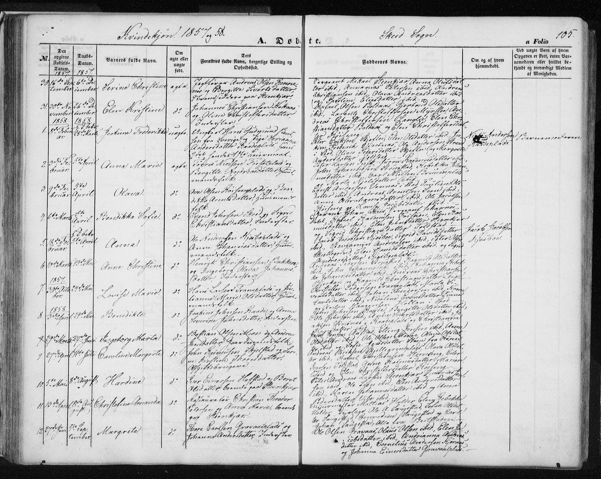 SAT, Ministerialprotokoller, klokkerbøker og fødselsregistre - Nord-Trøndelag, 735/L0342: Ministerialbok nr. 735A07 /2, 1849-1862, s. 105