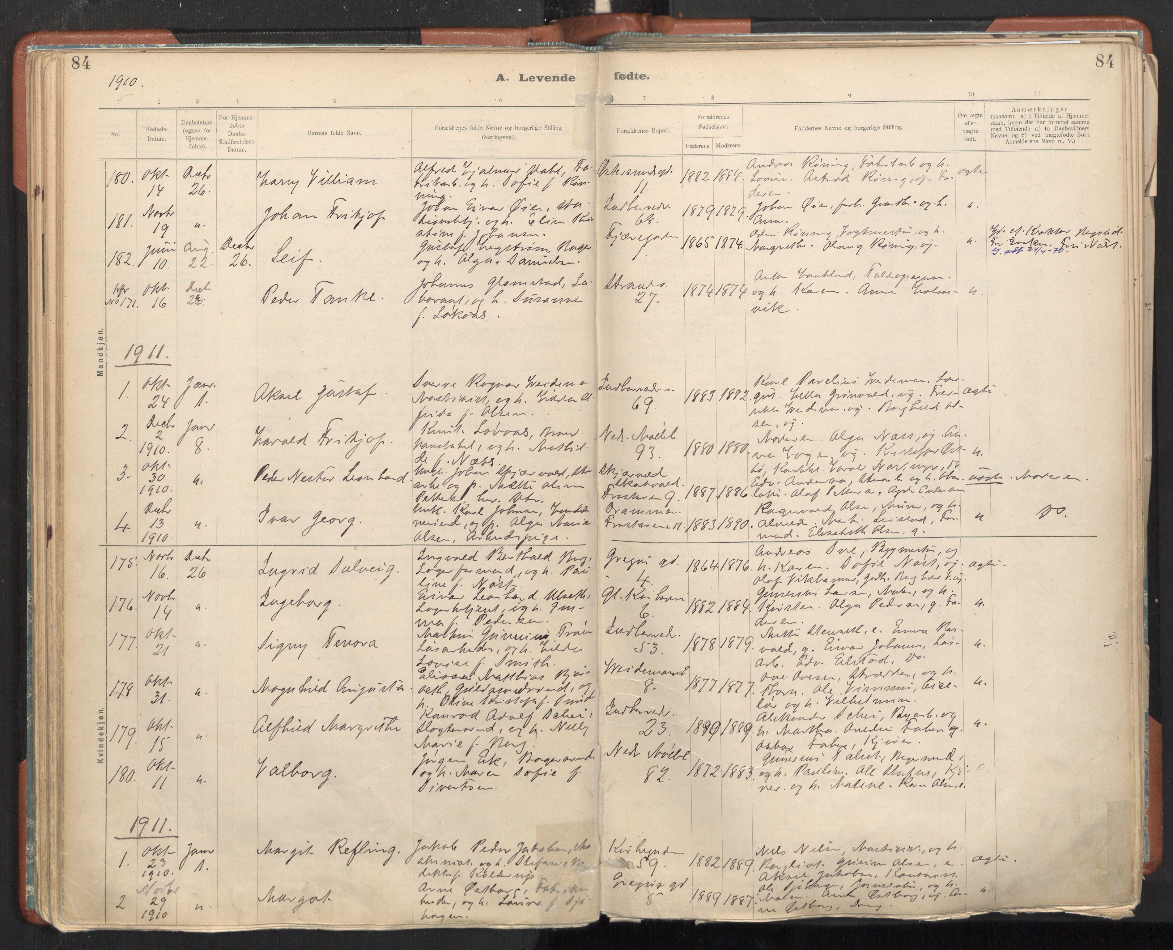 SAT, Ministerialprotokoller, klokkerbøker og fødselsregistre - Sør-Trøndelag, 605/L0243: Ministerialbok nr. 605A05, 1908-1923, s. 84