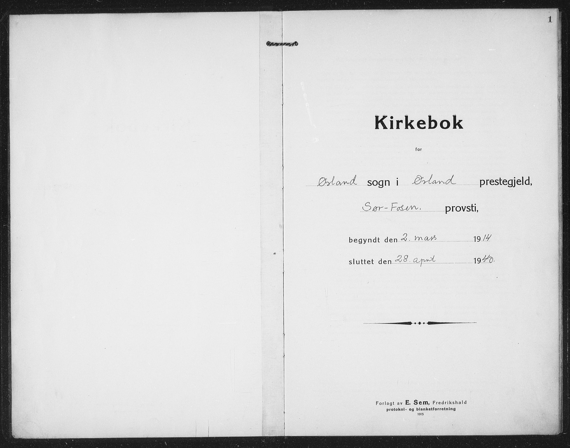 SAT, Ministerialprotokoller, klokkerbøker og fødselsregistre - Sør-Trøndelag, 659/L0750: Klokkerbok nr. 659C07, 1914-1940, s. 1