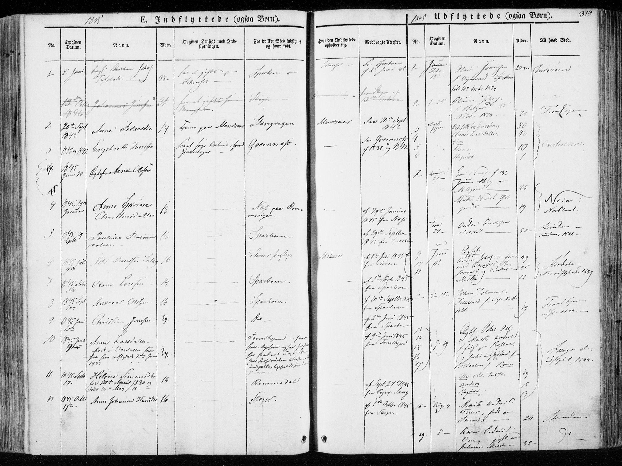 SAT, Ministerialprotokoller, klokkerbøker og fødselsregistre - Nord-Trøndelag, 723/L0239: Ministerialbok nr. 723A08, 1841-1851, s. 319