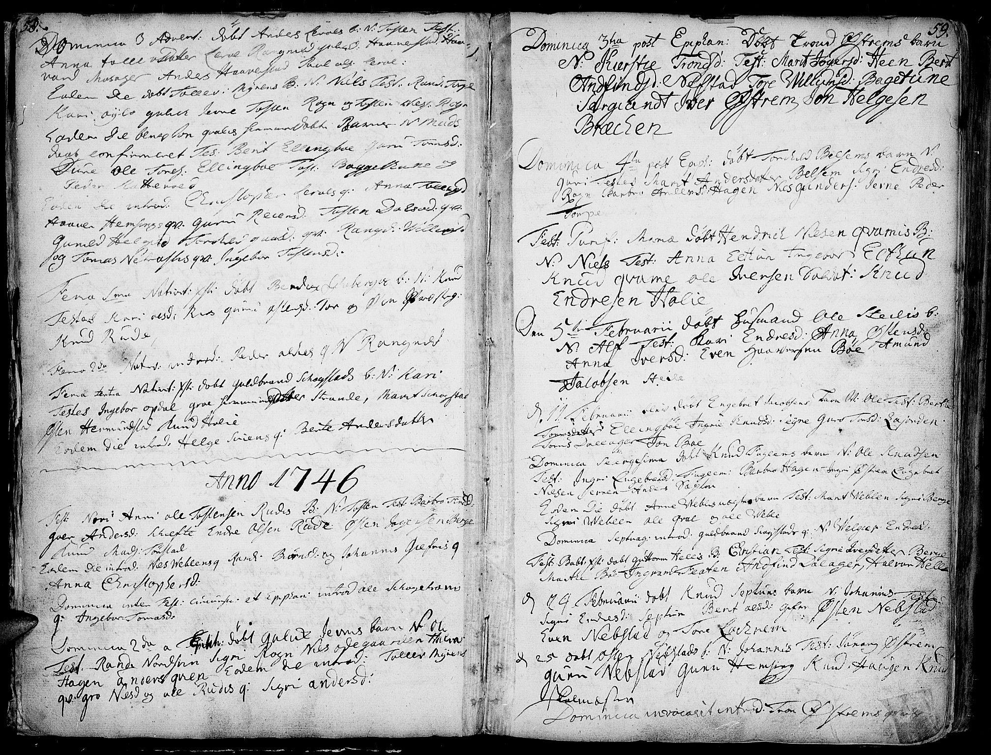 SAH, Vang prestekontor, Valdres, Ministerialbok nr. 1, 1730-1796, s. 58-59