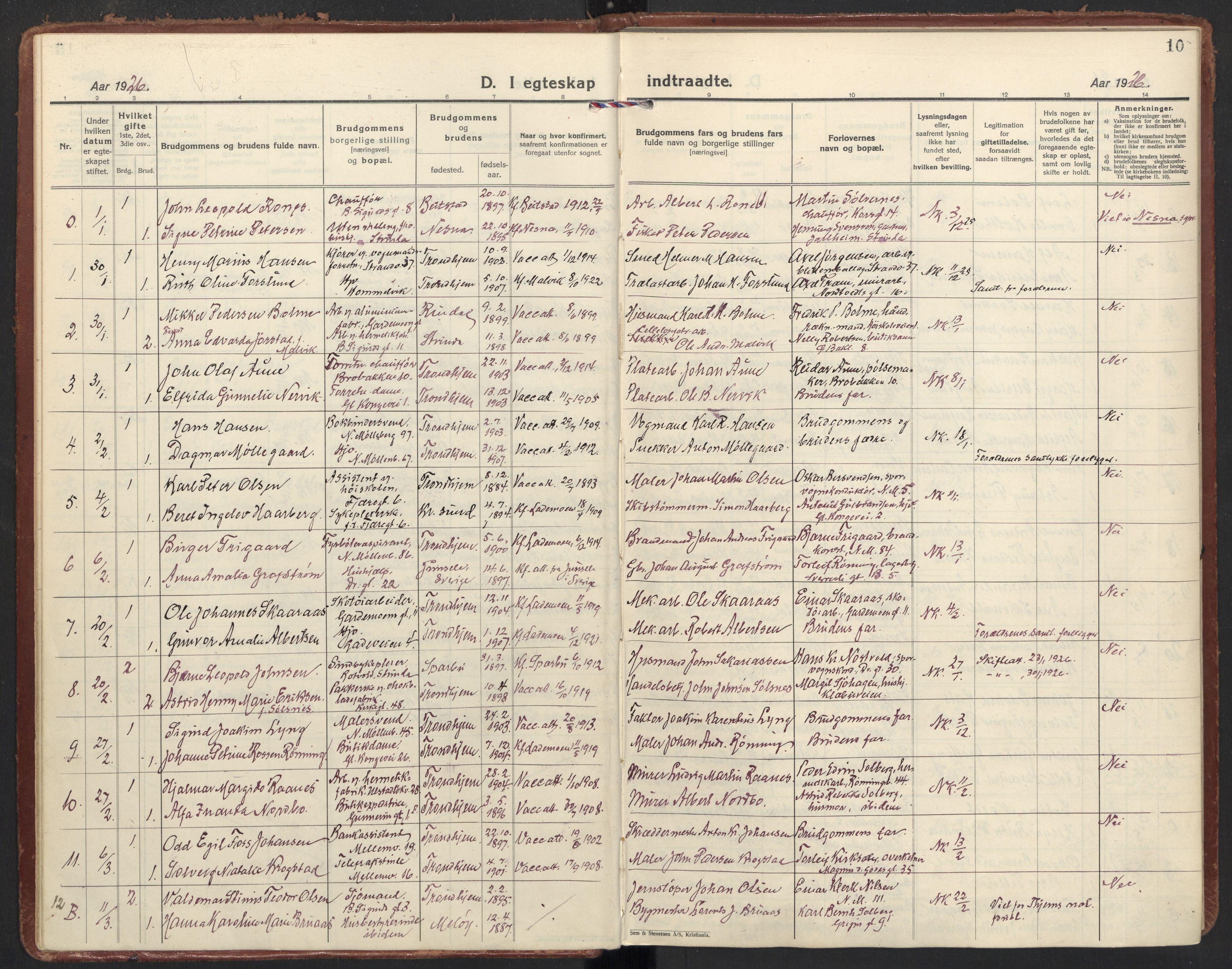 SAT, Ministerialprotokoller, klokkerbøker og fødselsregistre - Sør-Trøndelag, 605/L0249: Ministerialbok nr. 605A11, 1925-1936, s. 10