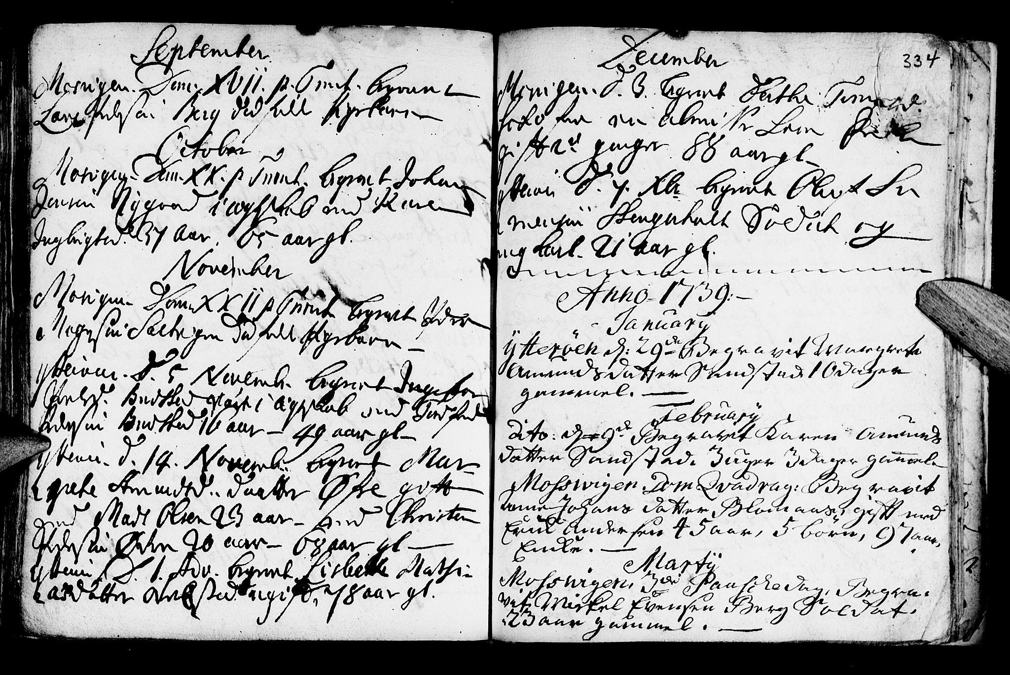 SAT, Ministerialprotokoller, klokkerbøker og fødselsregistre - Nord-Trøndelag, 722/L0215: Ministerialbok nr. 722A02, 1718-1755, s. 334