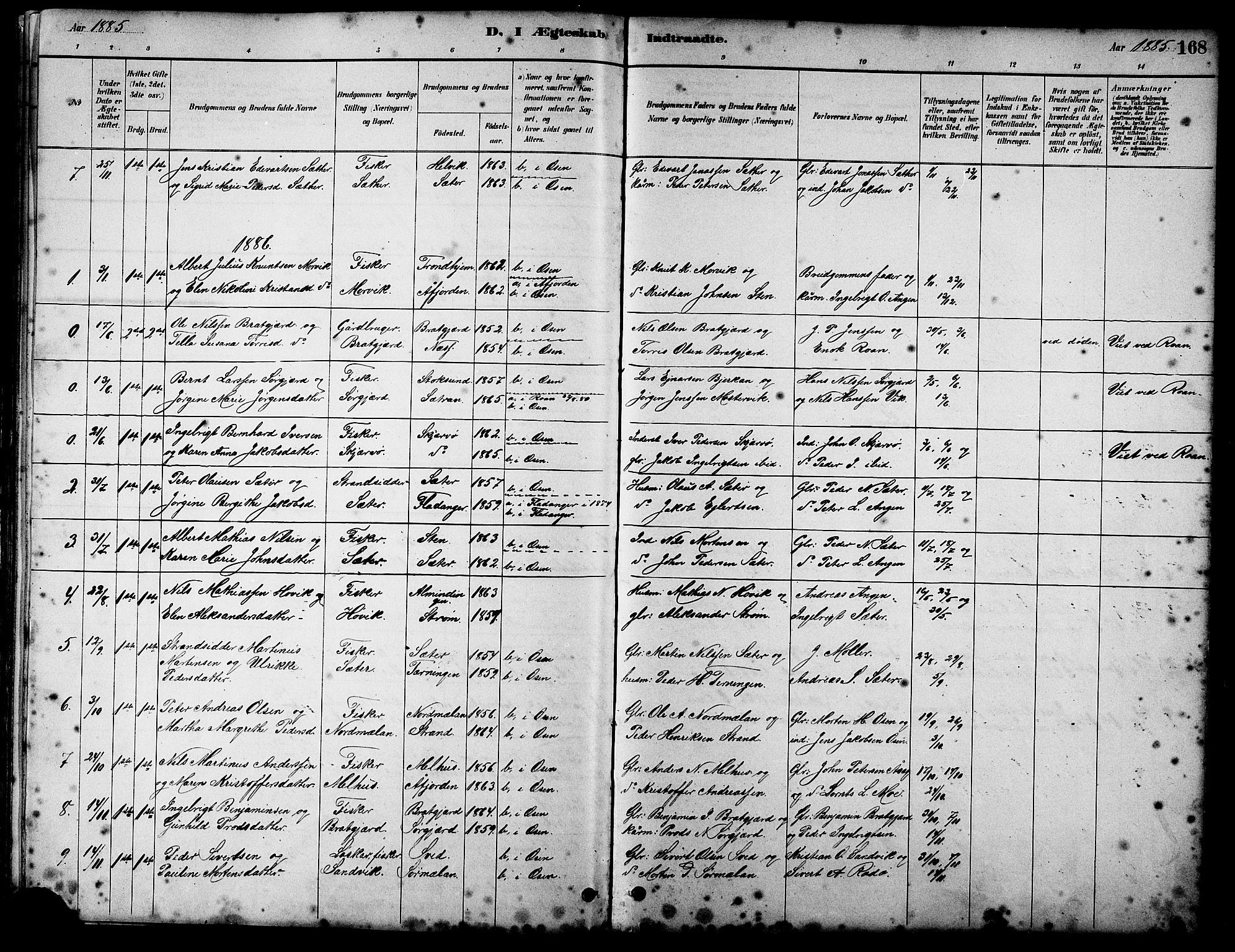 SAT, Ministerialprotokoller, klokkerbøker og fødselsregistre - Sør-Trøndelag, 658/L0726: Klokkerbok nr. 658C02, 1883-1908, s. 168