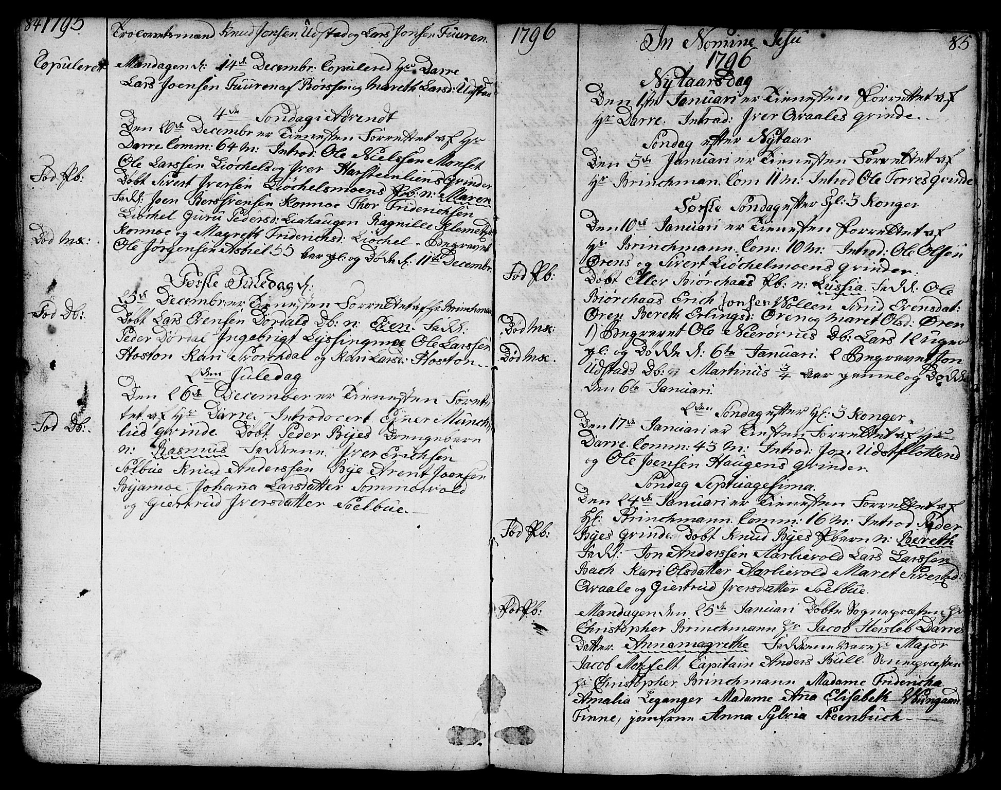 SAT, Ministerialprotokoller, klokkerbøker og fødselsregistre - Sør-Trøndelag, 668/L0815: Klokkerbok nr. 668C04, 1791-1815, s. 84-85