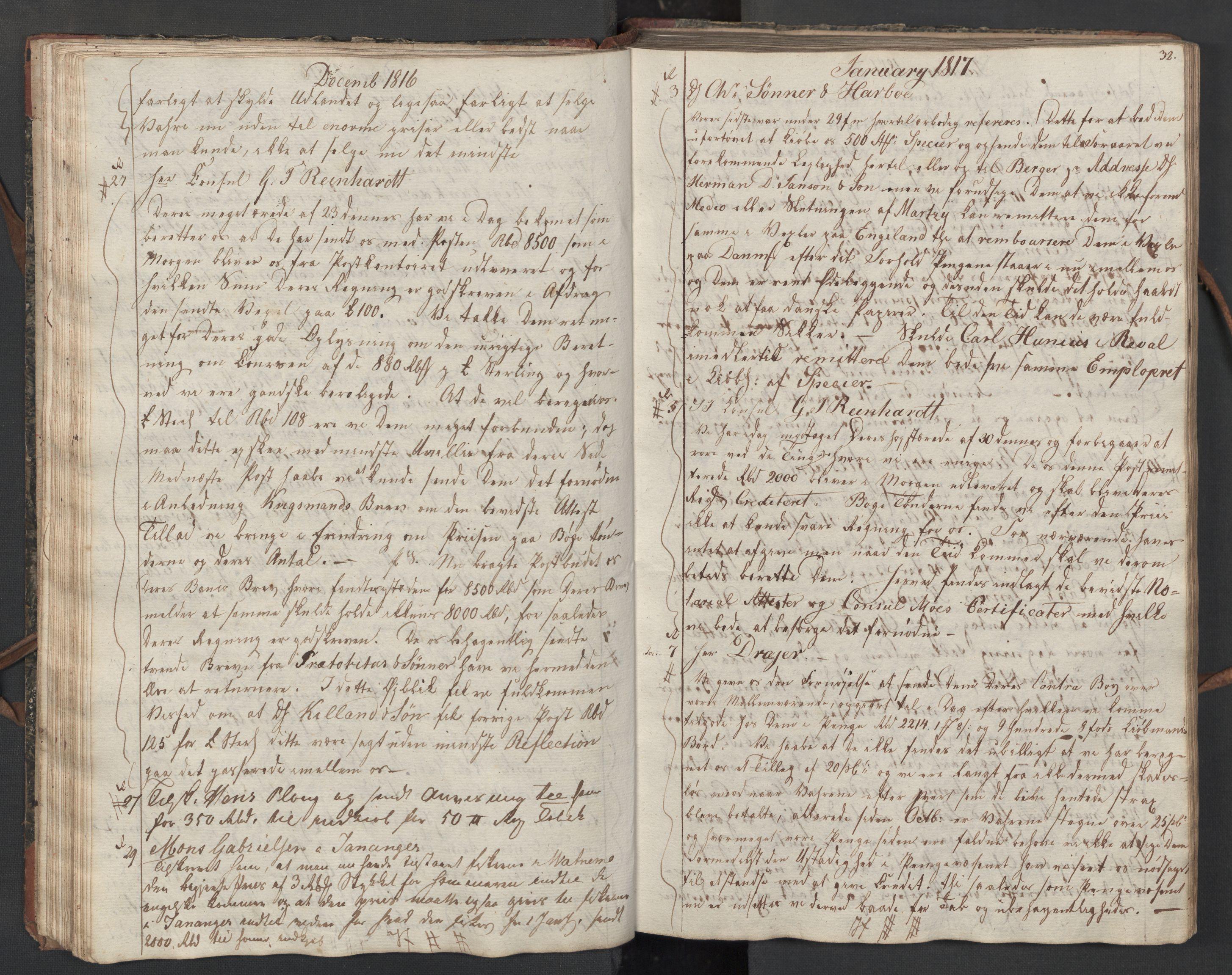 SAST, Pa 0003 - Ploug & Sundt, handelshuset, B/L0010: Kopibok, 1816-1822, s. 31b-32a