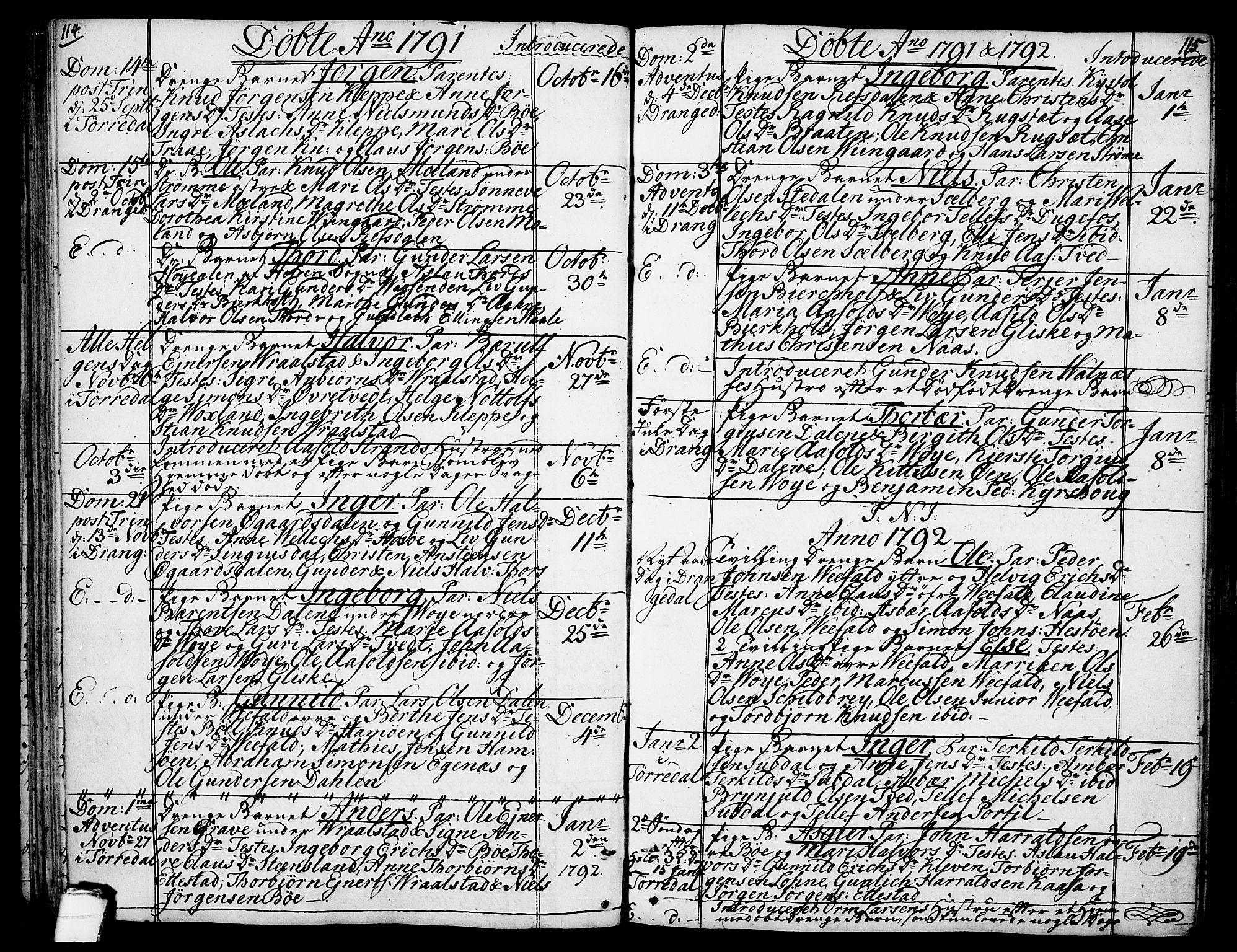 SAKO, Drangedal kirkebøker, F/Fa/L0003: Ministerialbok nr. 3, 1768-1814, s. 114-115