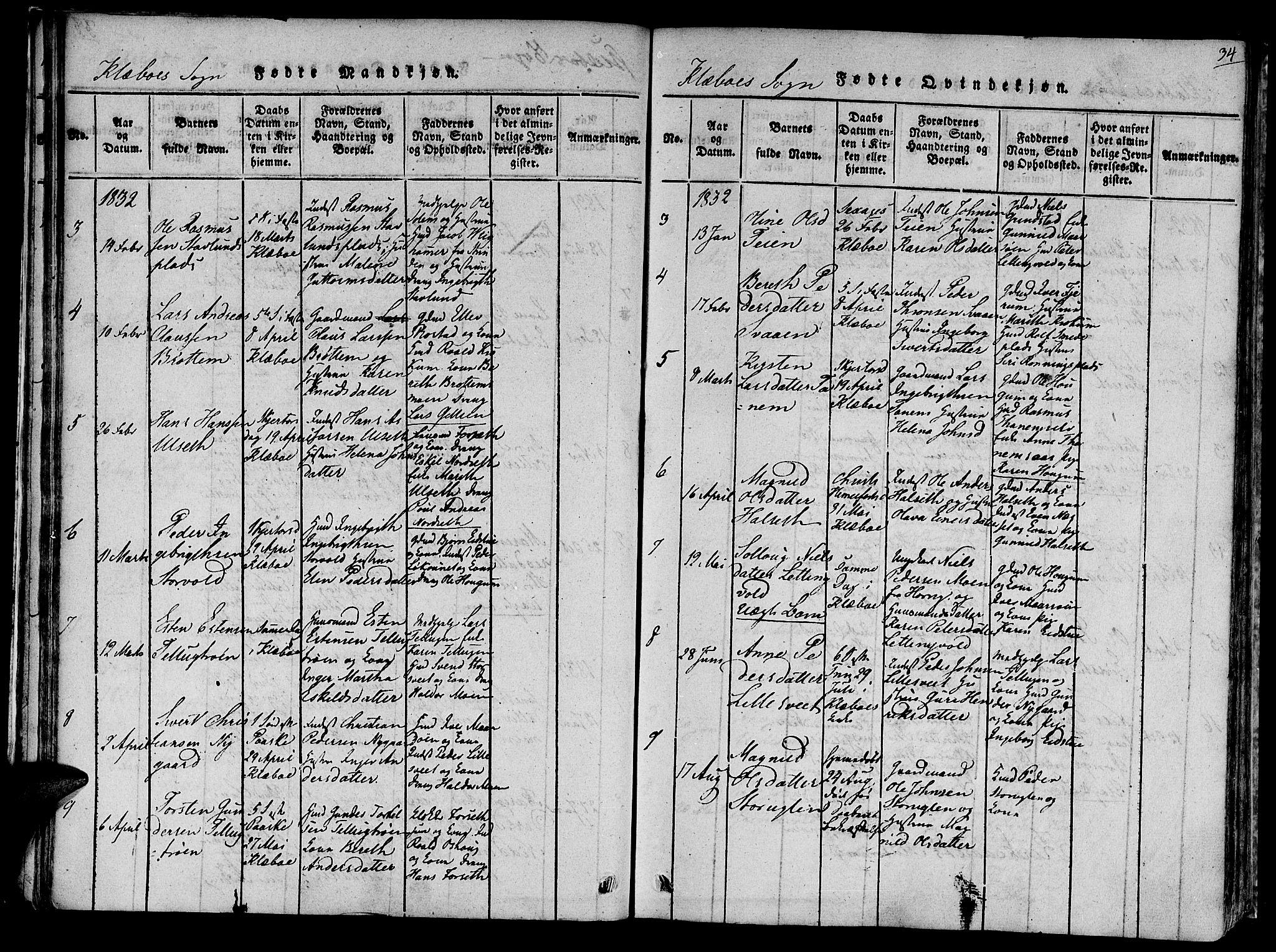 SAT, Ministerialprotokoller, klokkerbøker og fødselsregistre - Sør-Trøndelag, 618/L0439: Ministerialbok nr. 618A04 /1, 1816-1843, s. 34