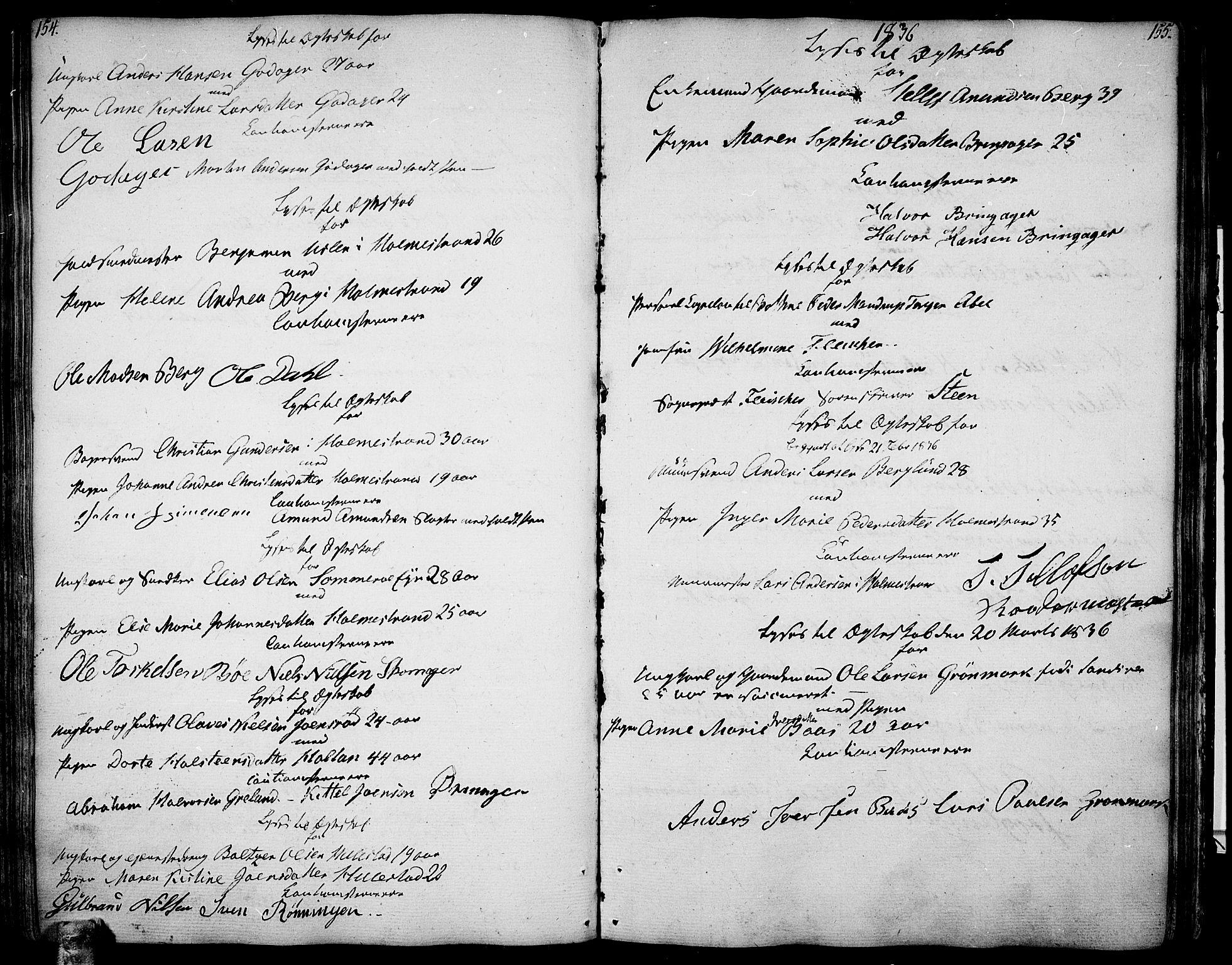 SAKO, Botne kirkebøker, F/Fa/L0003: Ministerialbok nr. I 3 /1, 1792-1844, s. 154-155