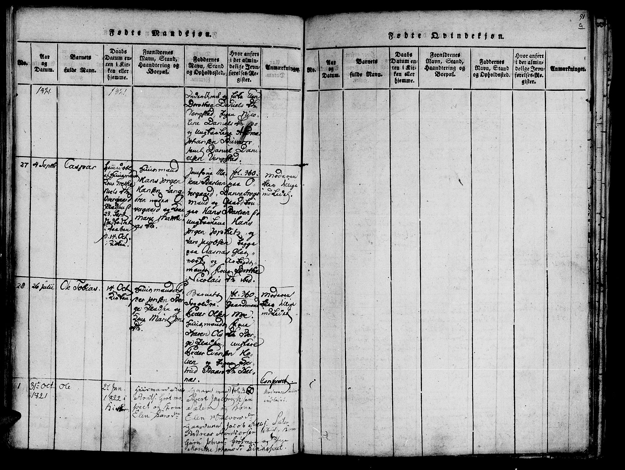 SAT, Ministerialprotokoller, klokkerbøker og fødselsregistre - Nord-Trøndelag, 741/L0387: Ministerialbok nr. 741A03 /3, 1817-1822, s. 91a