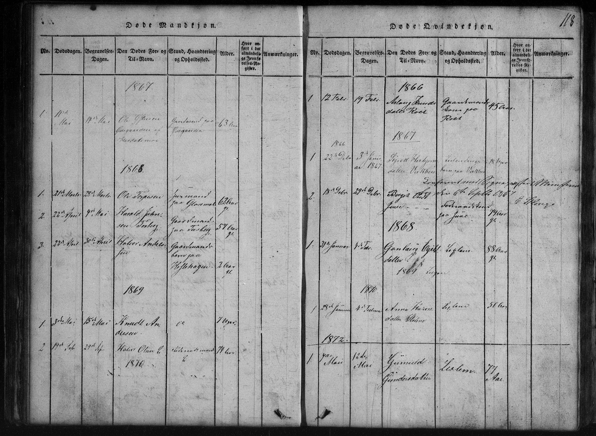 SAKO, Rauland kirkebøker, G/Gb/L0001: Klokkerbok nr. II 1, 1815-1886, s. 118
