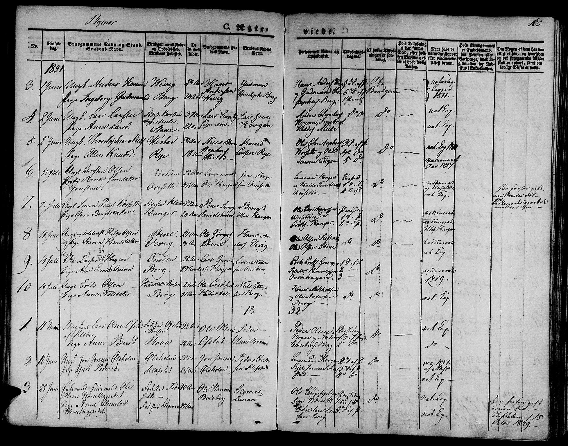 SAT, Ministerialprotokoller, klokkerbøker og fødselsregistre - Sør-Trøndelag, 612/L0374: Ministerialbok nr. 612A07 /1, 1829-1845, s. 165
