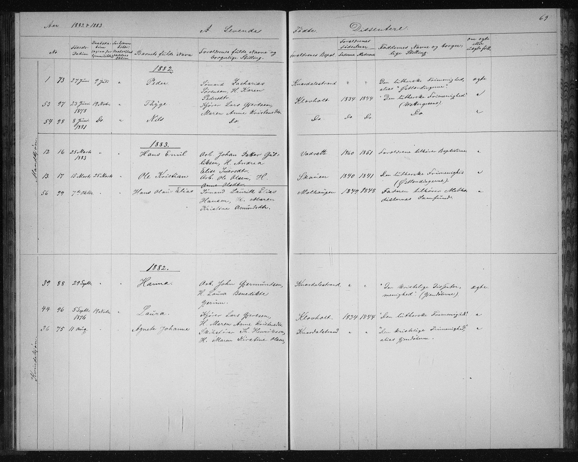 SAKO, Solum kirkebøker, G/Ga/L0006: Klokkerbok nr. I 6, 1882-1883, s. 69