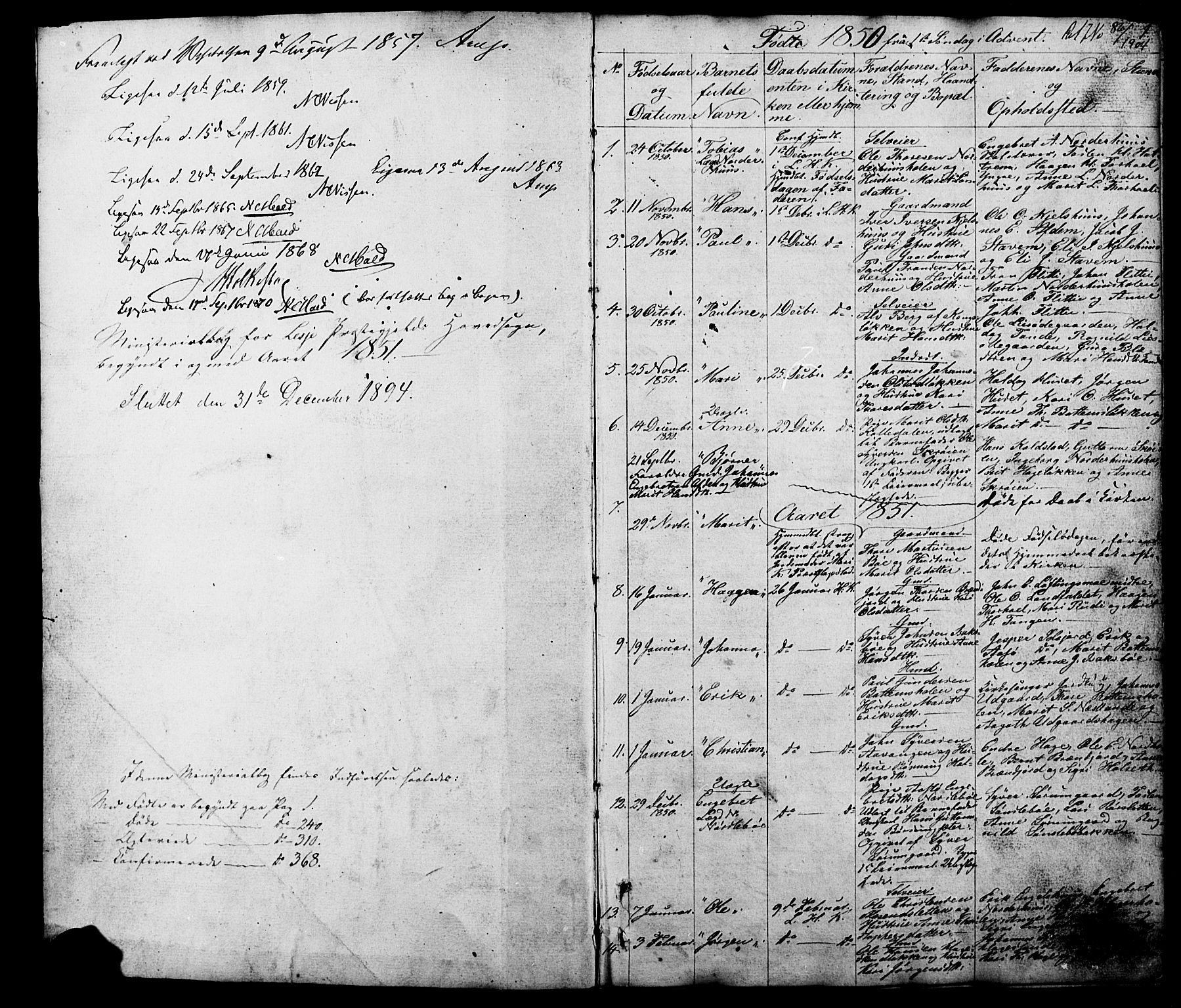 SAH, Lesja prestekontor, Klokkerbok nr. 5, 1850-1894, s. 1-2