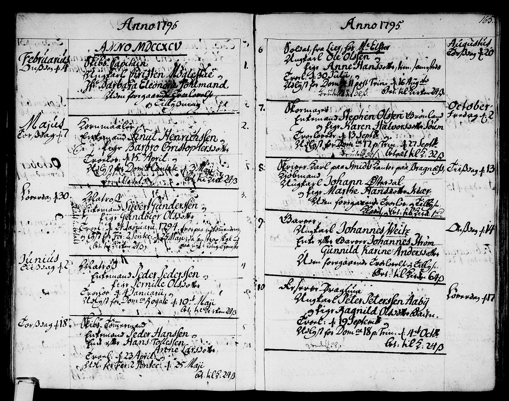 SAKO, Strømsø kirkebøker, F/Fa/L0010: Ministerialbok nr. I 10, 1792-1822, s. 165
