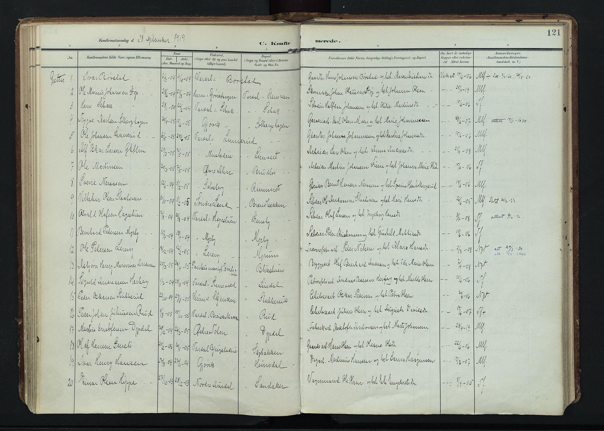 SAH, Vardal prestekontor, H/Ha/Haa/L0020: Ministerialbok nr. 20, 1907-1921, s. 121
