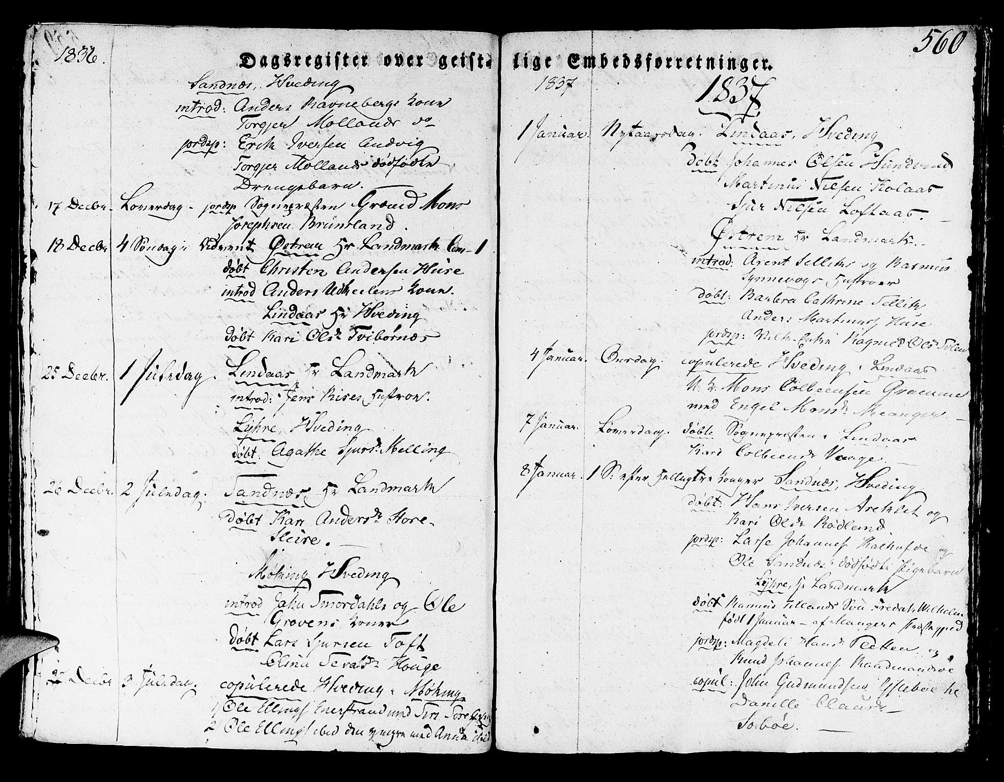 SAB, Lindås Sokneprestembete, H/Haa: Ministerialbok nr. A 8, 1823-1836, s. 560