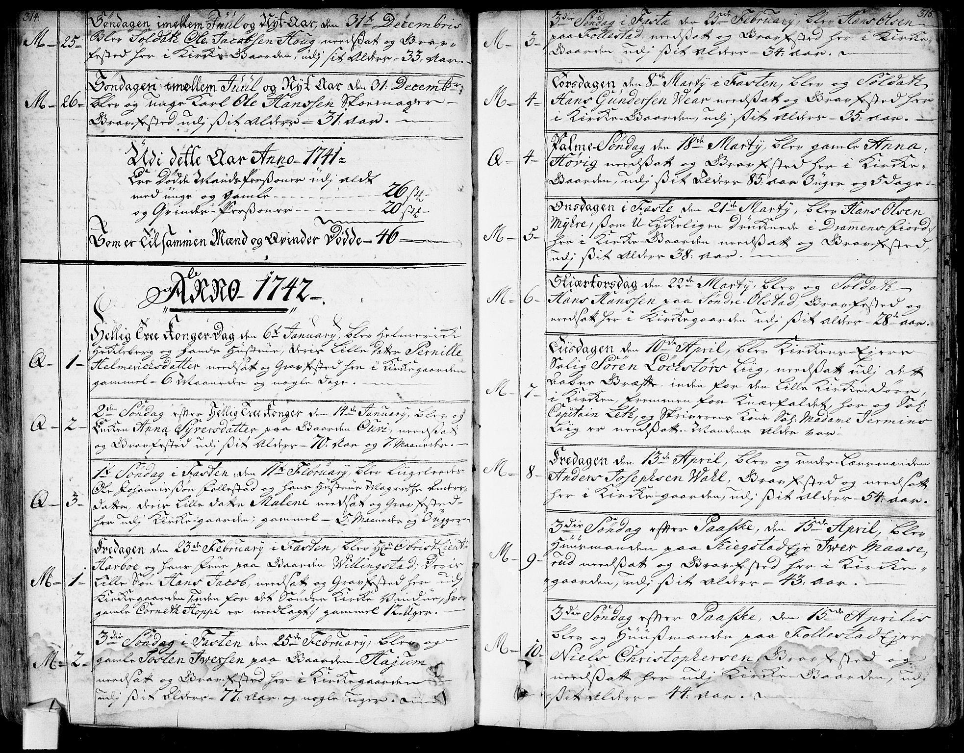 SAKO, Røyken kirkebøker, G/Ga/L0001: Klokkerbok nr. 1, 1740-1768, s. 314-315