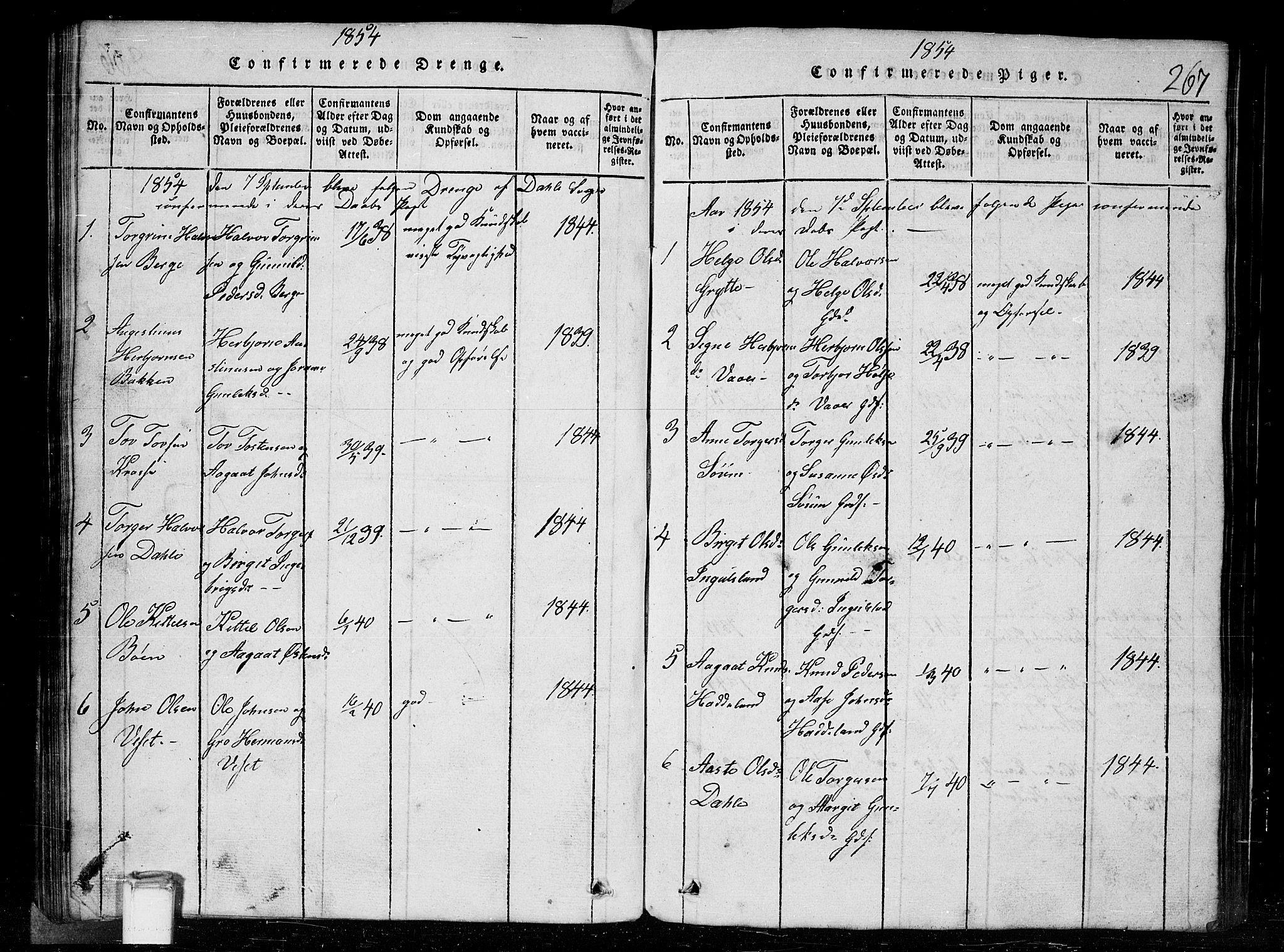SAKO, Tinn kirkebøker, G/Gc/L0001: Klokkerbok nr. III 1, 1815-1879, s. 267