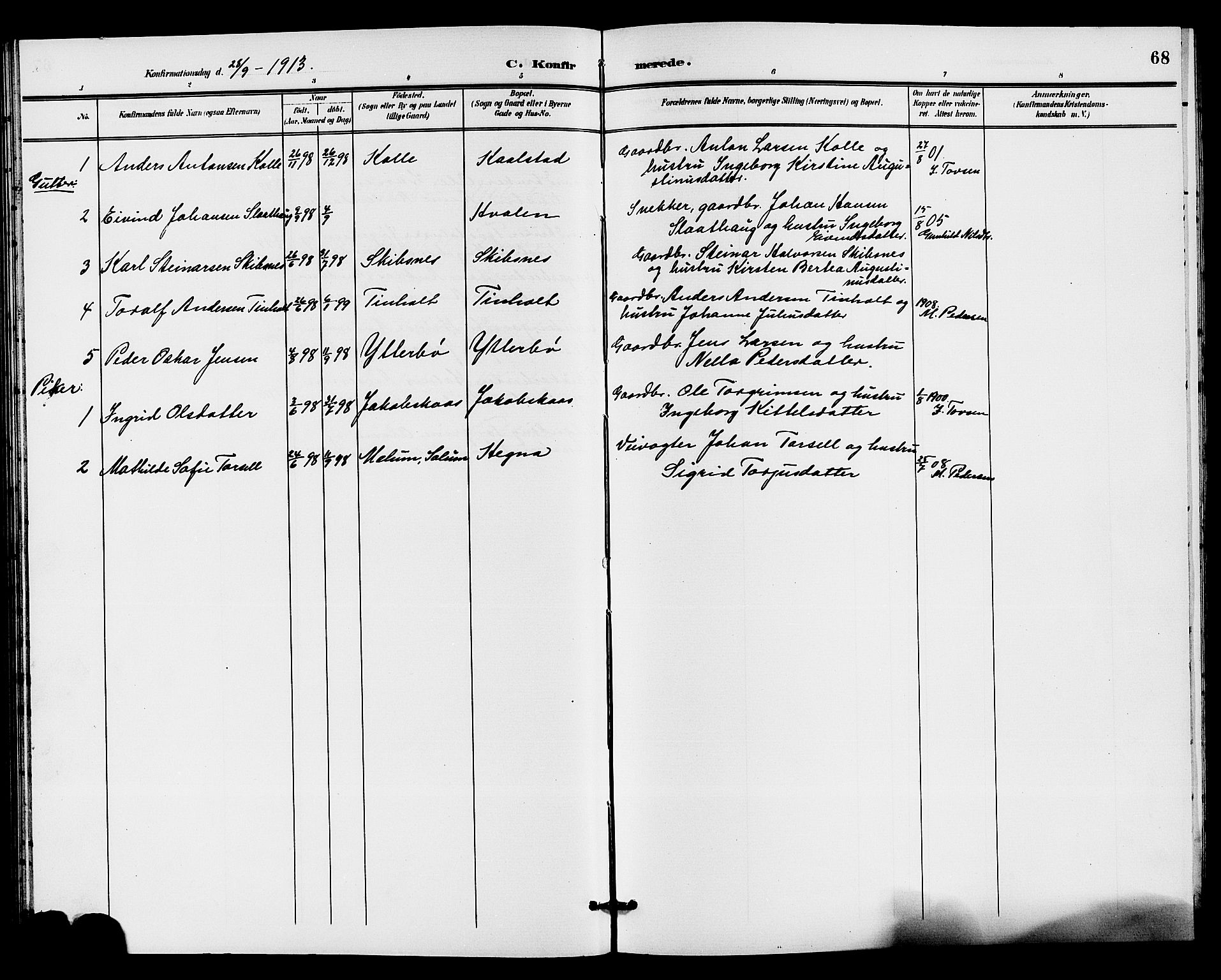 SAKO, Holla kirkebøker, G/Gb/L0002: Klokkerbok nr. II 2, 1897-1913, s. 68