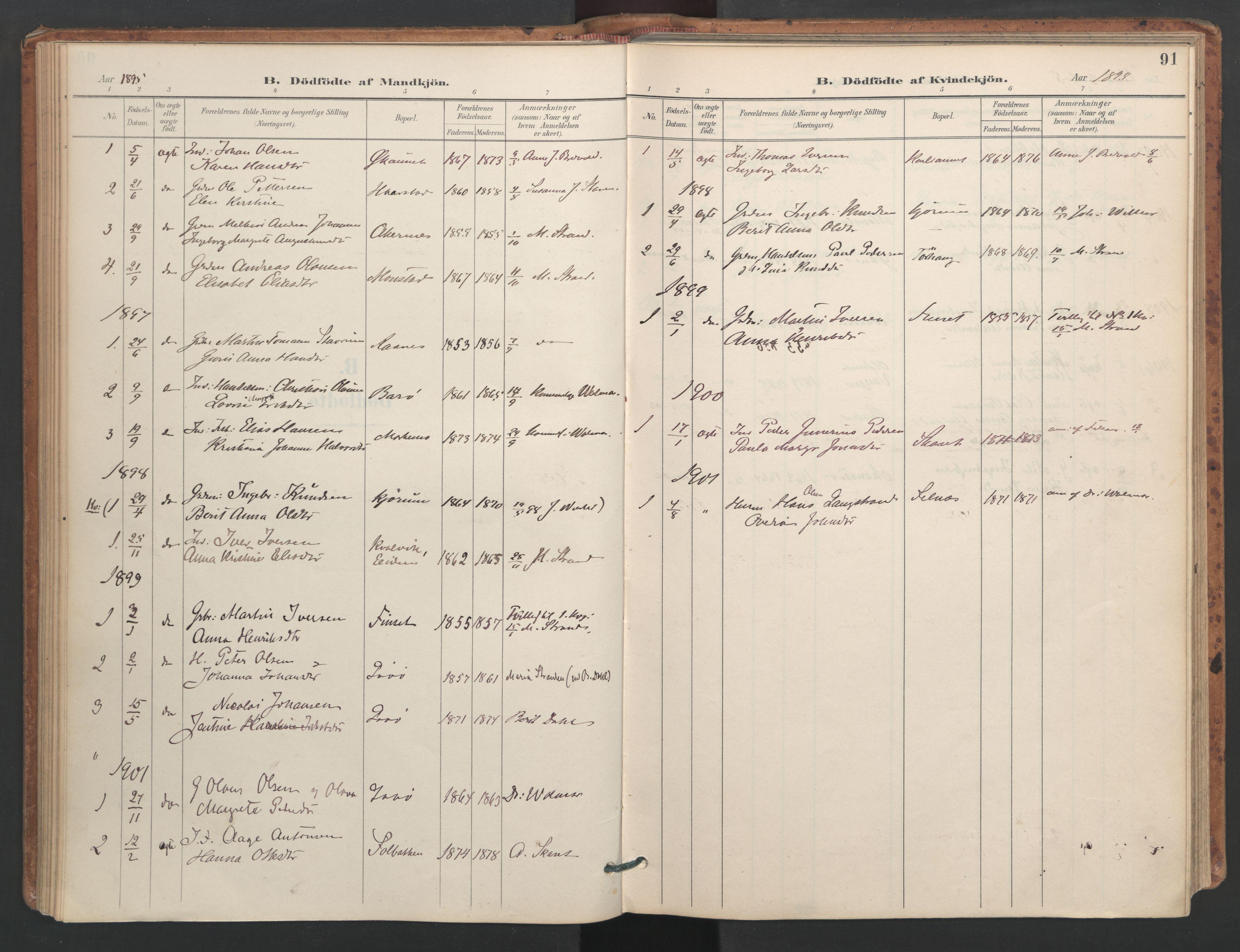 SAT, Ministerialprotokoller, klokkerbøker og fødselsregistre - Sør-Trøndelag, 655/L0681: Ministerialbok nr. 655A10, 1895-1907, s. 91
