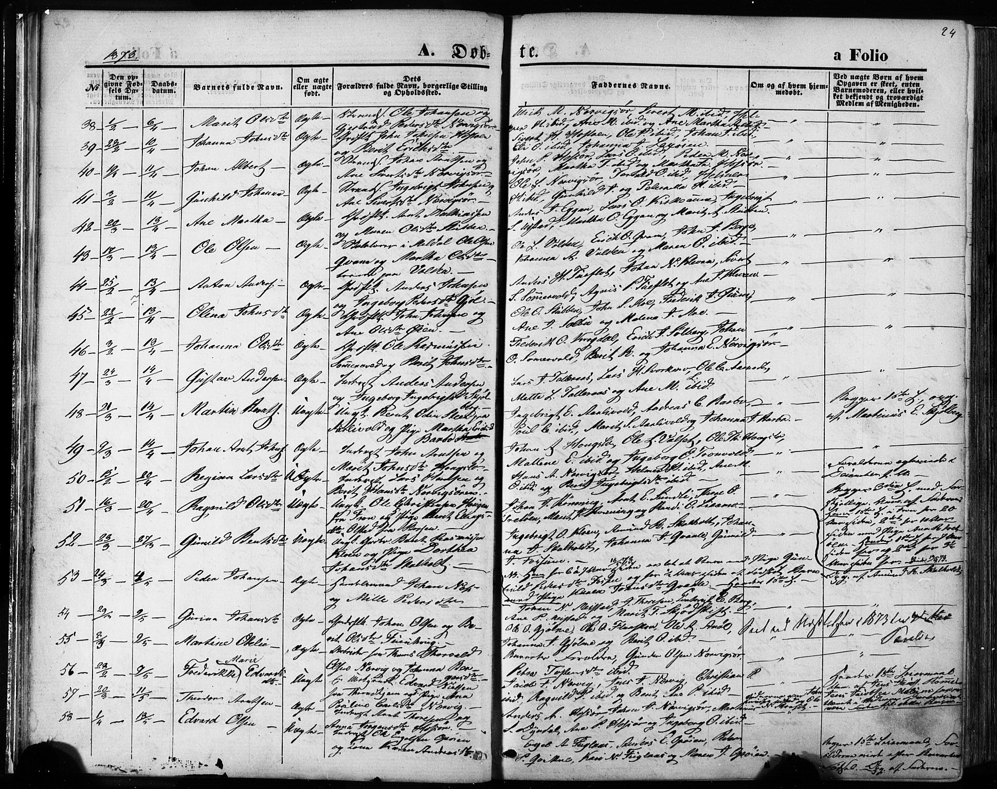 SAT, Ministerialprotokoller, klokkerbøker og fødselsregistre - Sør-Trøndelag, 668/L0807: Ministerialbok nr. 668A07, 1870-1880, s. 24