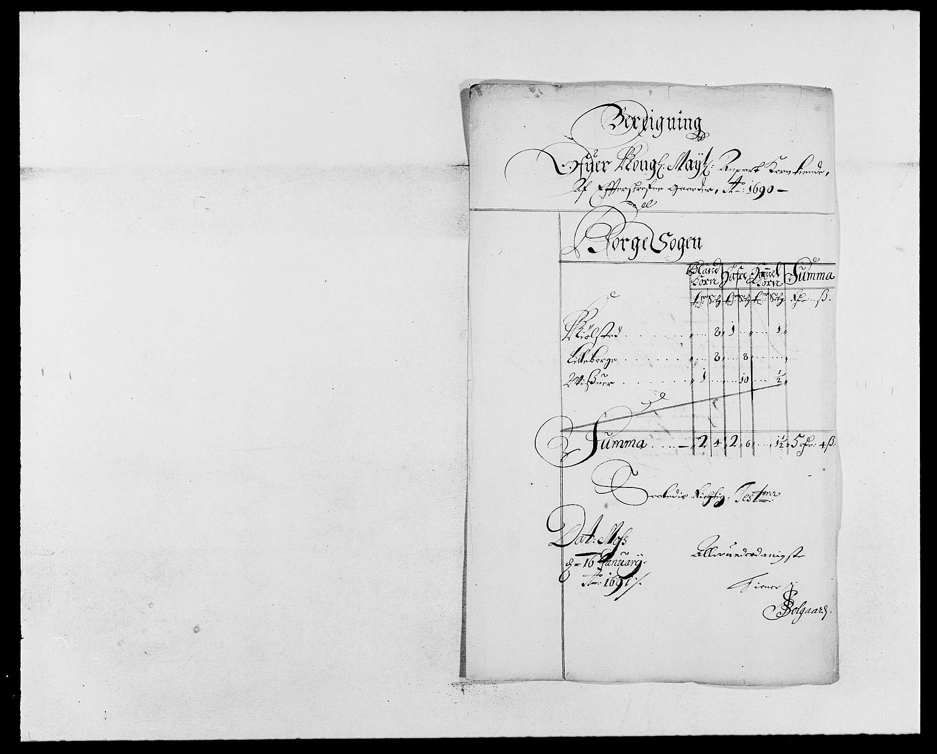 RA, Rentekammeret inntil 1814, Reviderte regnskaper, Fogderegnskap, R03/L0119: Fogderegnskap Onsøy, Tune, Veme og Åbygge fogderi, 1690-1691, s. 115